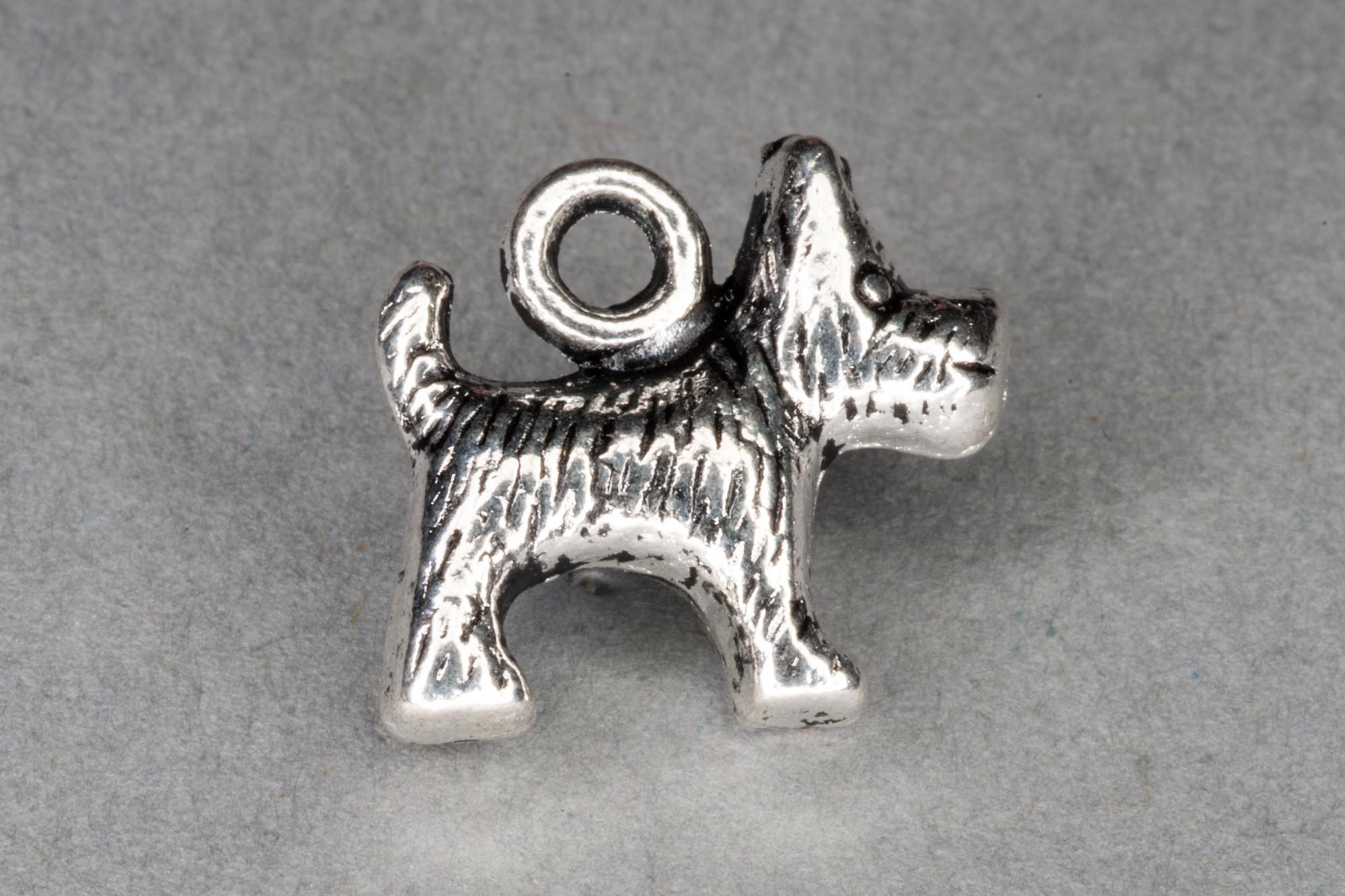 Antique Silver Dog Charm 13x14mm