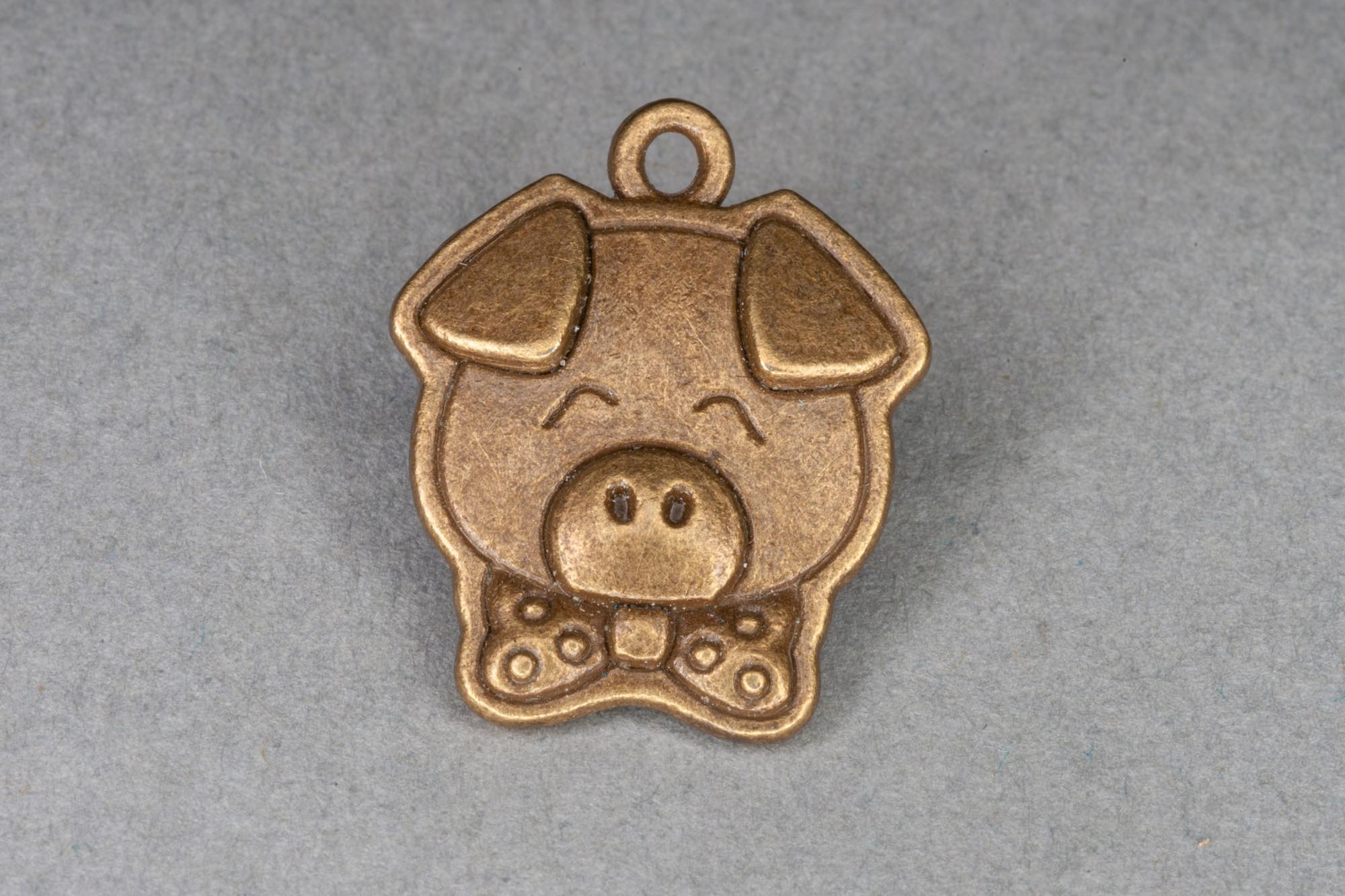 Antique Brass Pig Charm 20x16mm