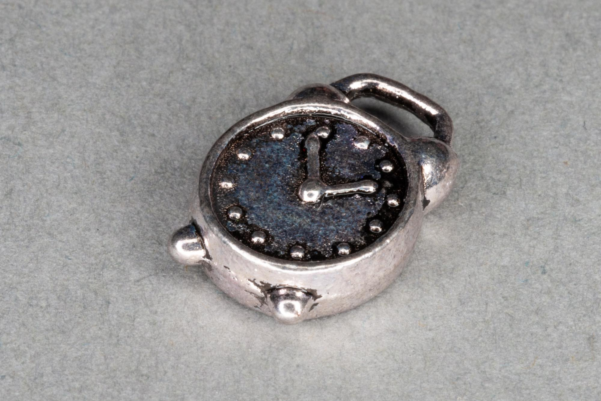 Antique Silver Clock Charm 14x10mm