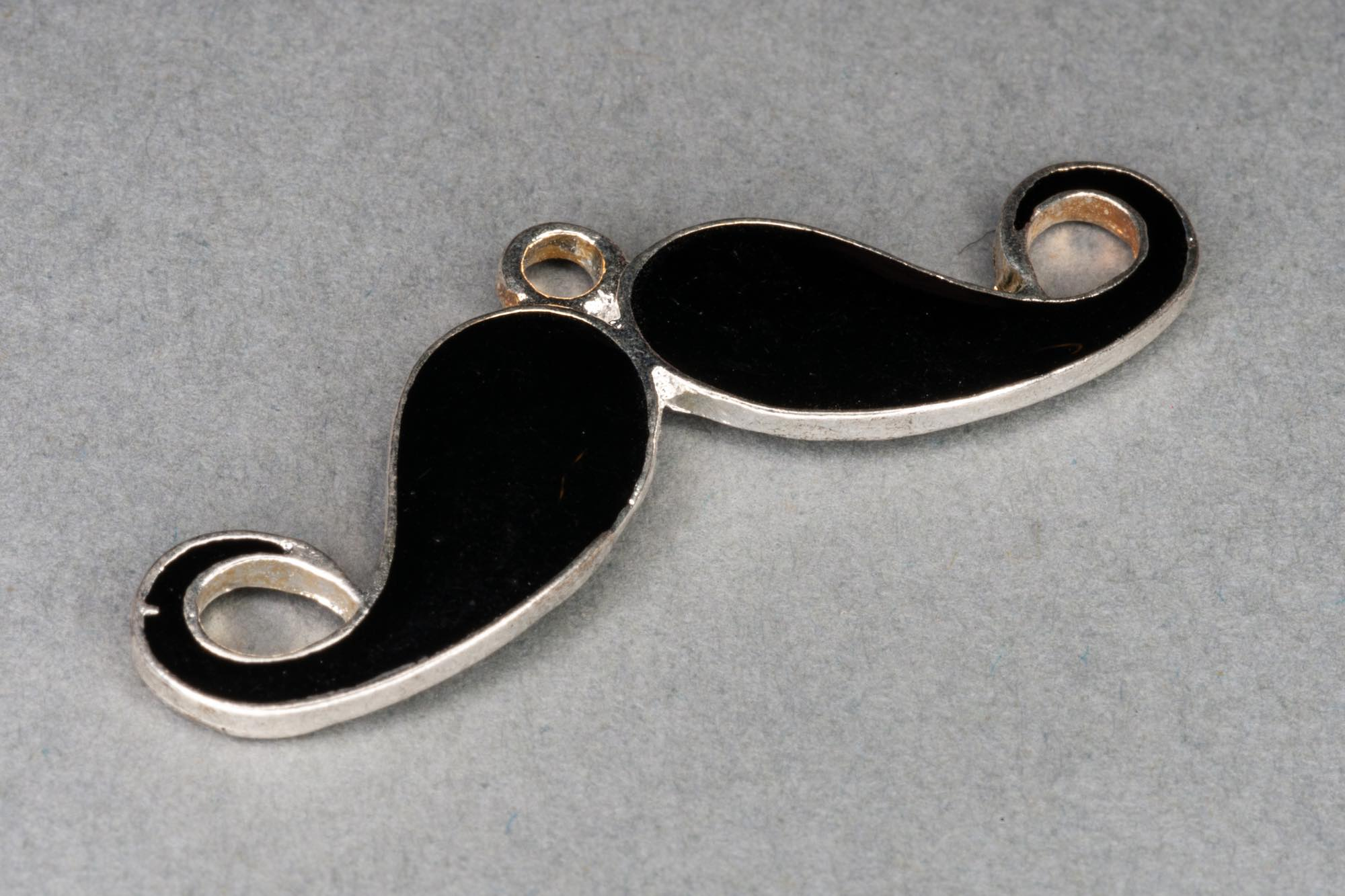 Black & Silver Moustache Charm 12x34mm