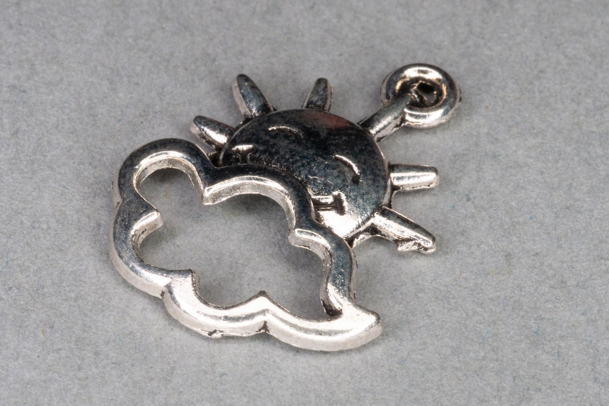 Antique Silver Cloud & Sun Charm 20x16mm