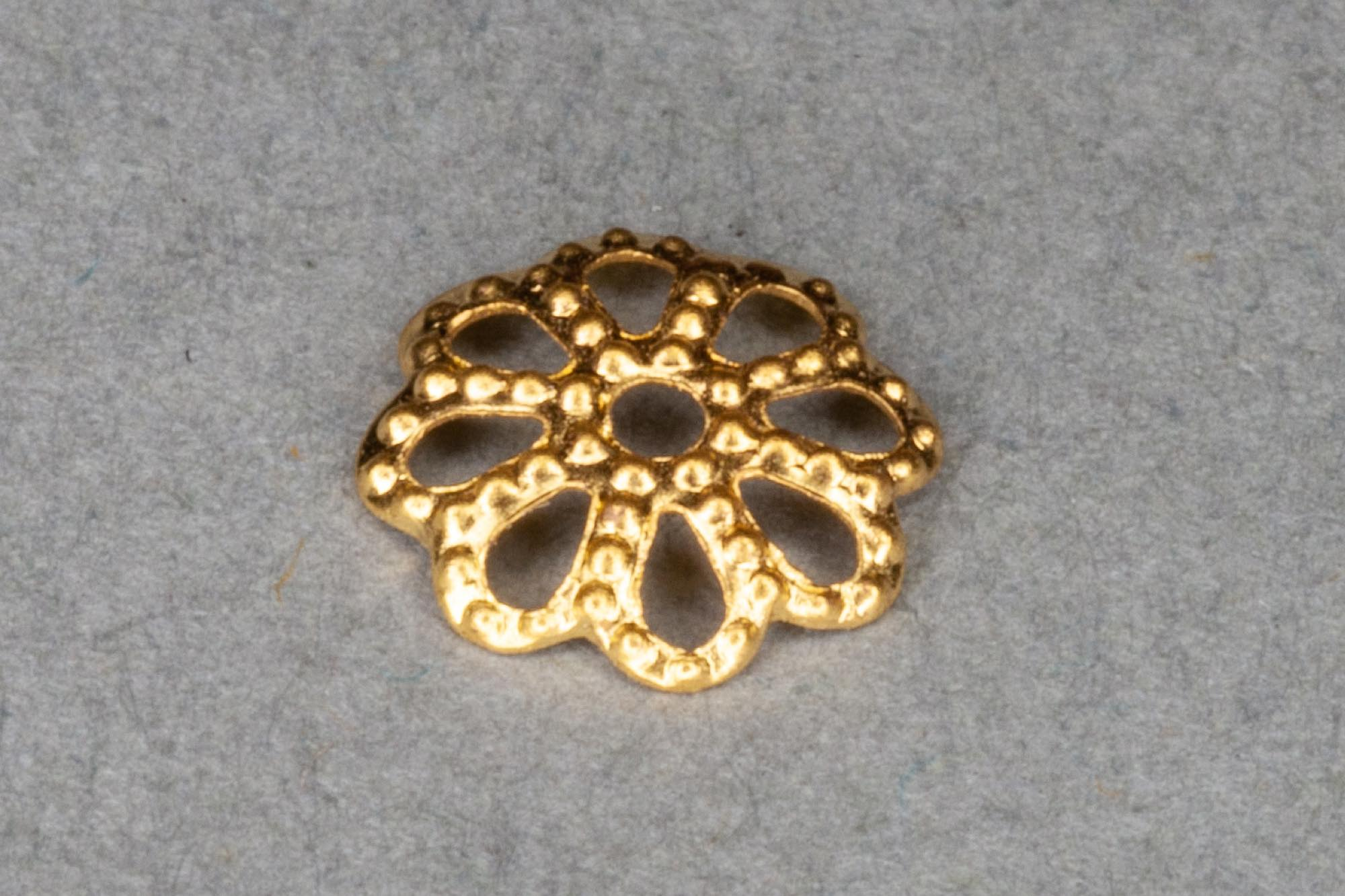 Bright Gold Plated Shallow Filigree Bead Ccap 7mm, 0.5mm hole