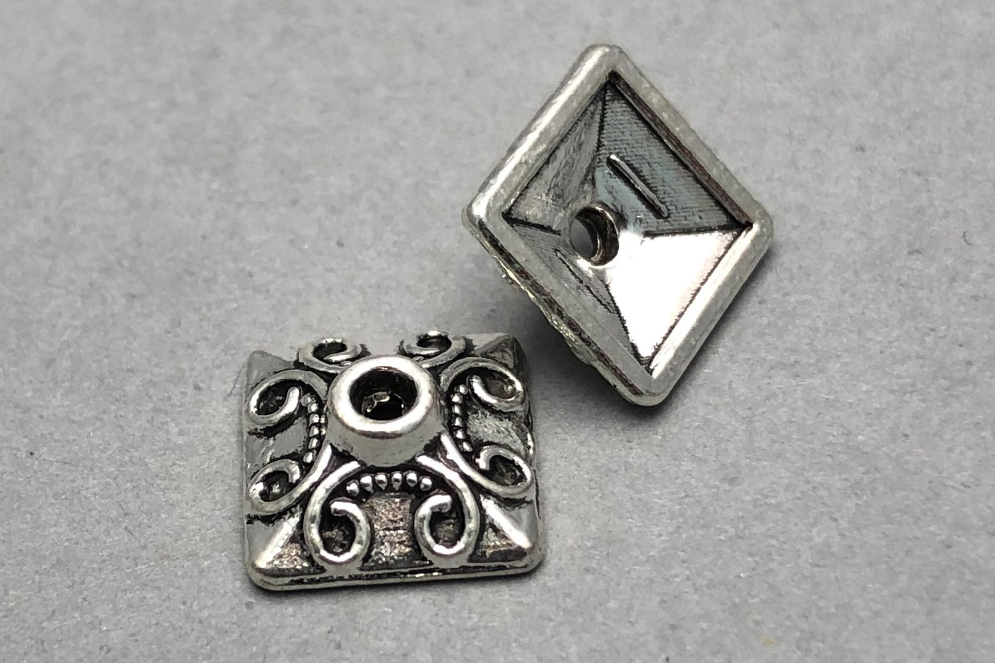 Antique Silver Plated Square Bead Cap 10x4mm, 1.2mm hole