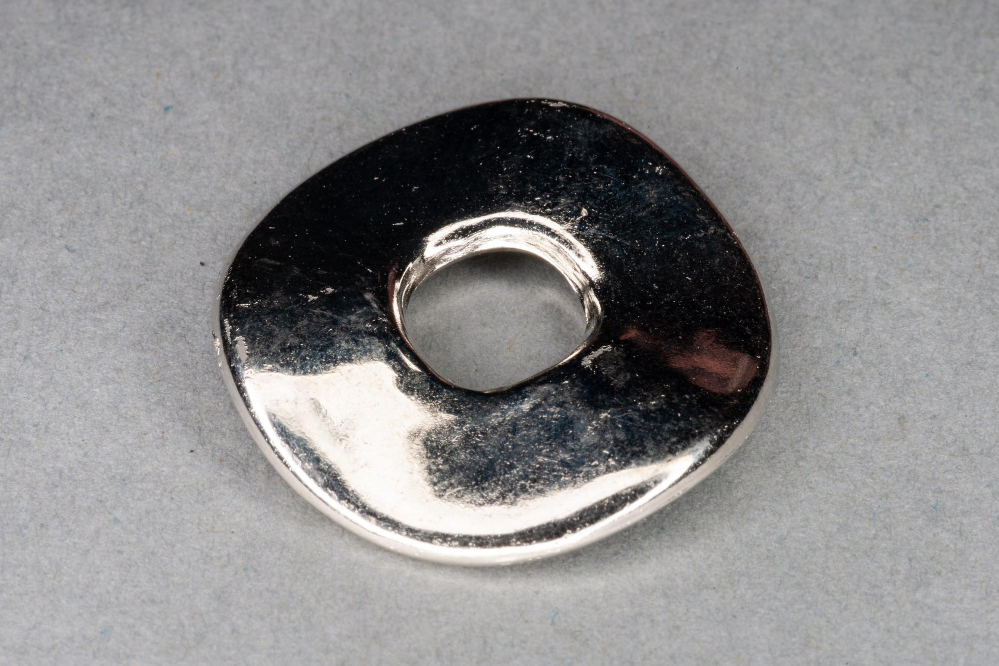 Silver Plated Acrylic Wavy Donut Bead, 24x3mm, 7mm hole