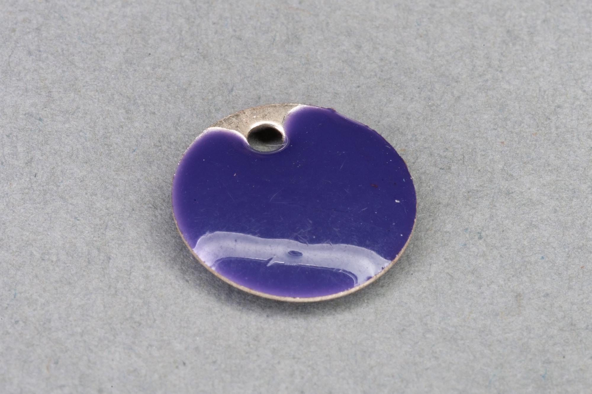 Flat Purple Enamel Disk Pendant, Silver Edge 12x2mm, 1.2mm hole