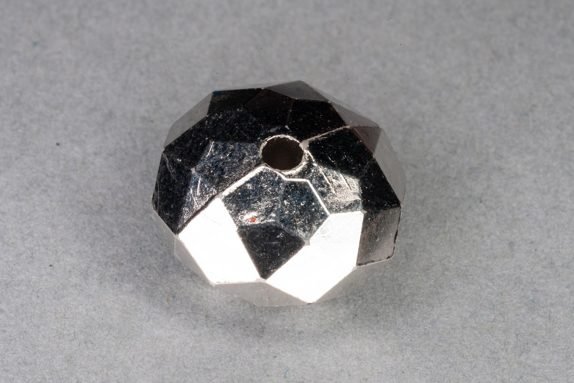 Round Faceted Pillow Silver Plated Acrylic  Bead, 15x8mm, 1.2mm hole