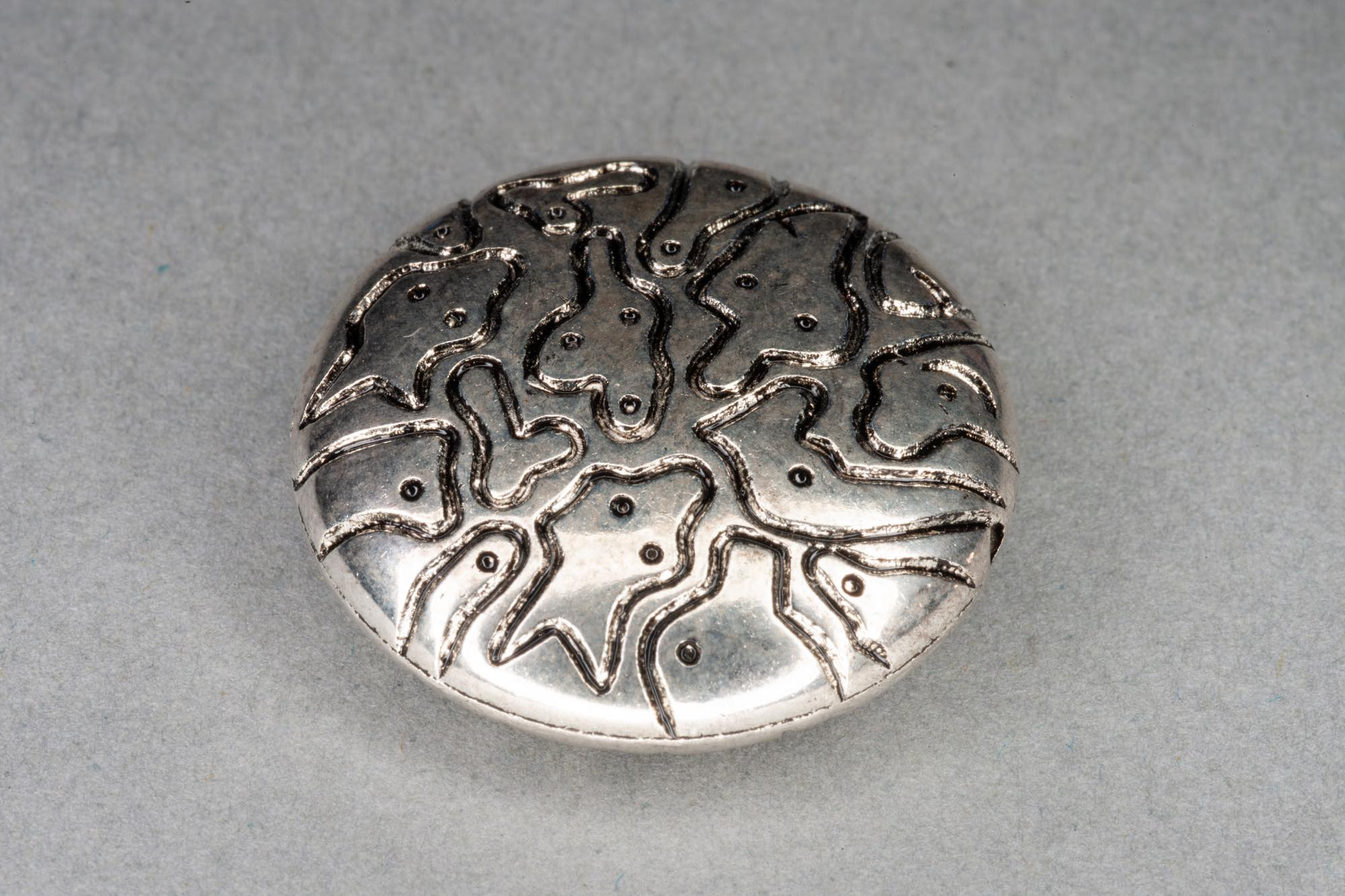 Silver Plated Acrylic Patterned Flat Bead, 25x7mm, 0.8mm hole