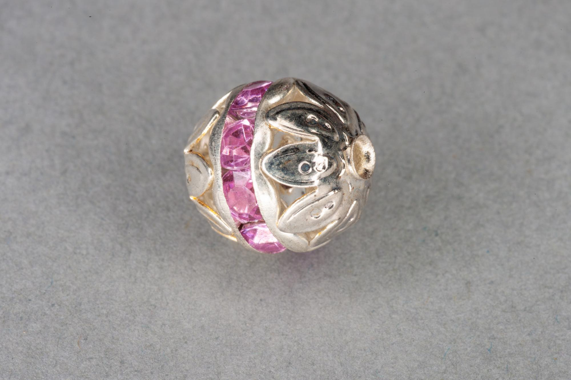 Silver Plated Round Filigree Bead, Pink Diamante Band 10mm, 0.9mm hole
