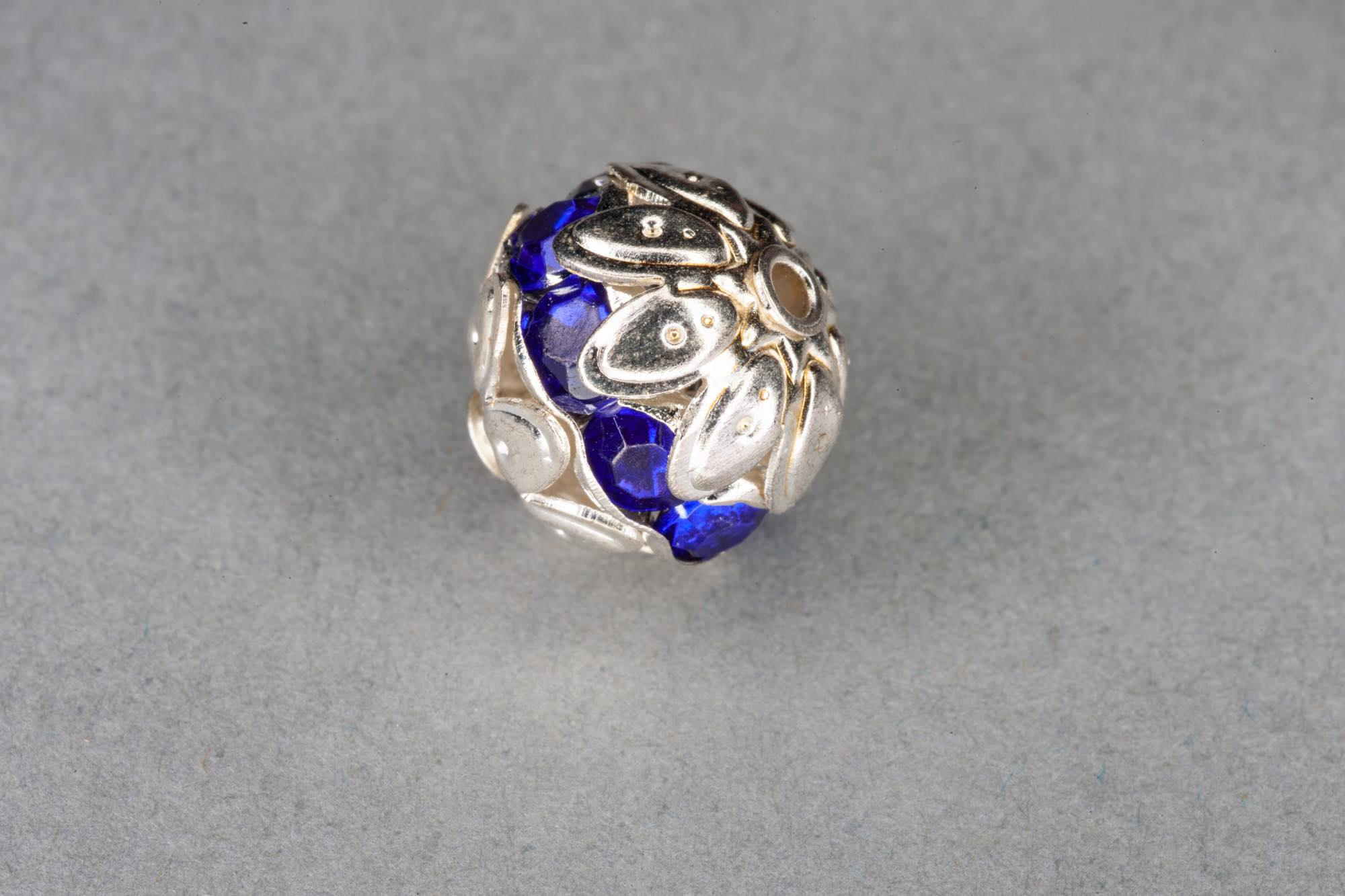 Silver Plated Round Filigree Bead, Purple Diamante Band 10mm, 0.9mm hole