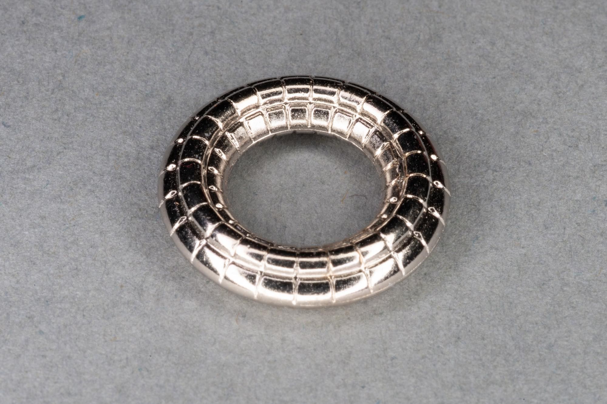 Textured Silver Plated Acrylic Solid Link Ring, 12x4mm, 8mm hole