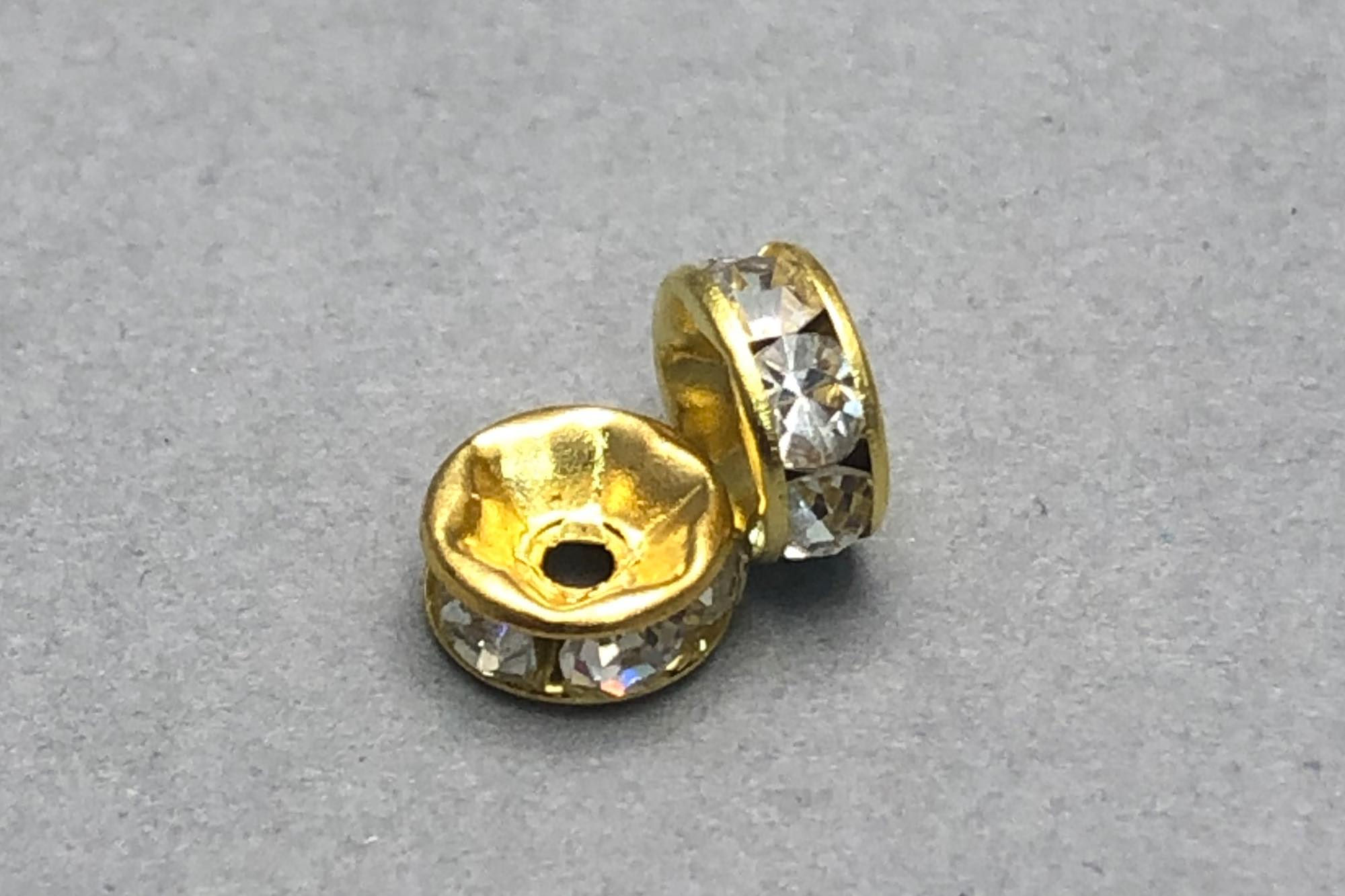 Bright Gold Plated Diamante Rondelle Bead 7x3mm, 1mm hole