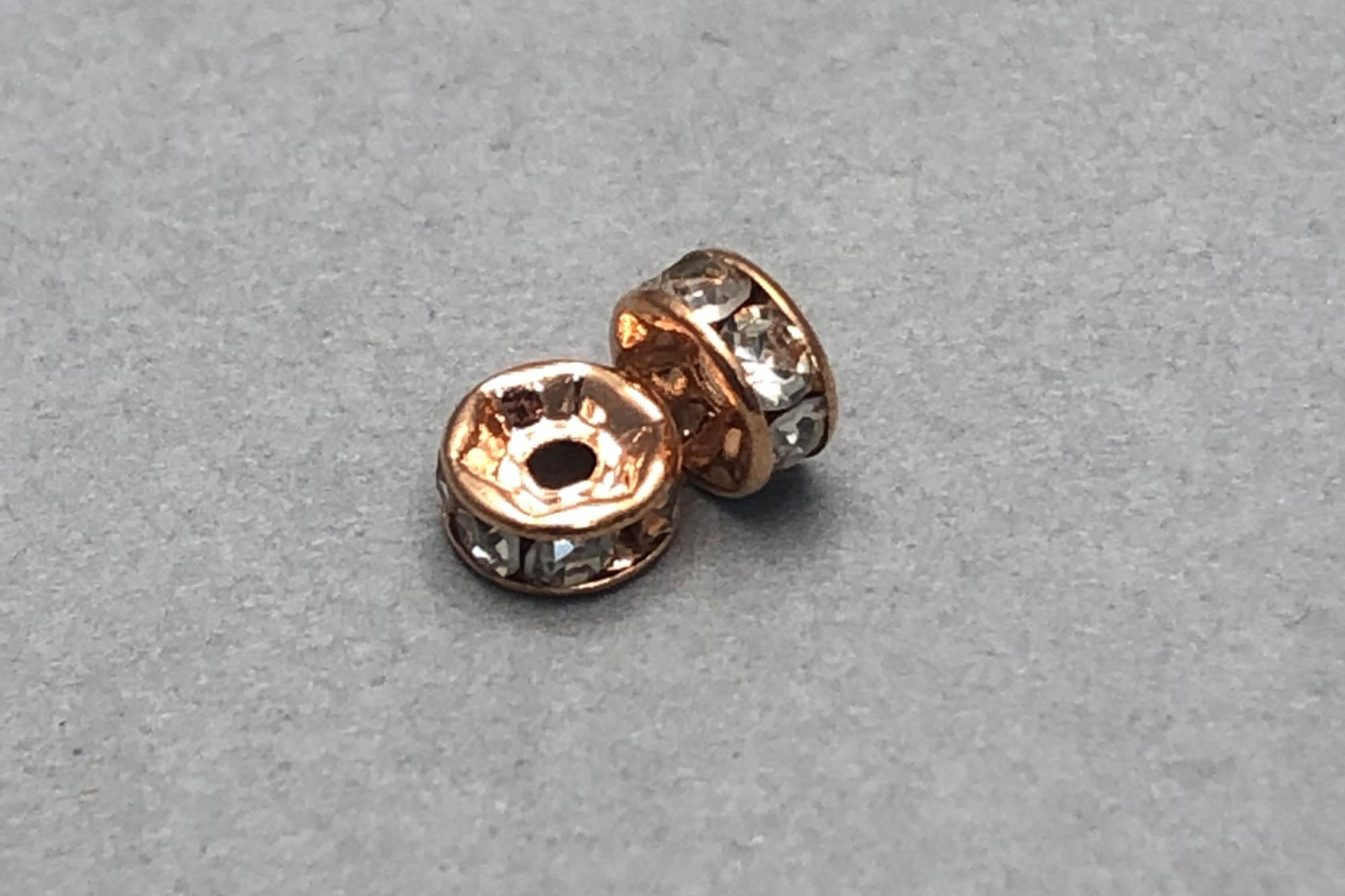 Rose Gold Plated Diamante Rondelle Bead 5×2.5mm, 1mm hole