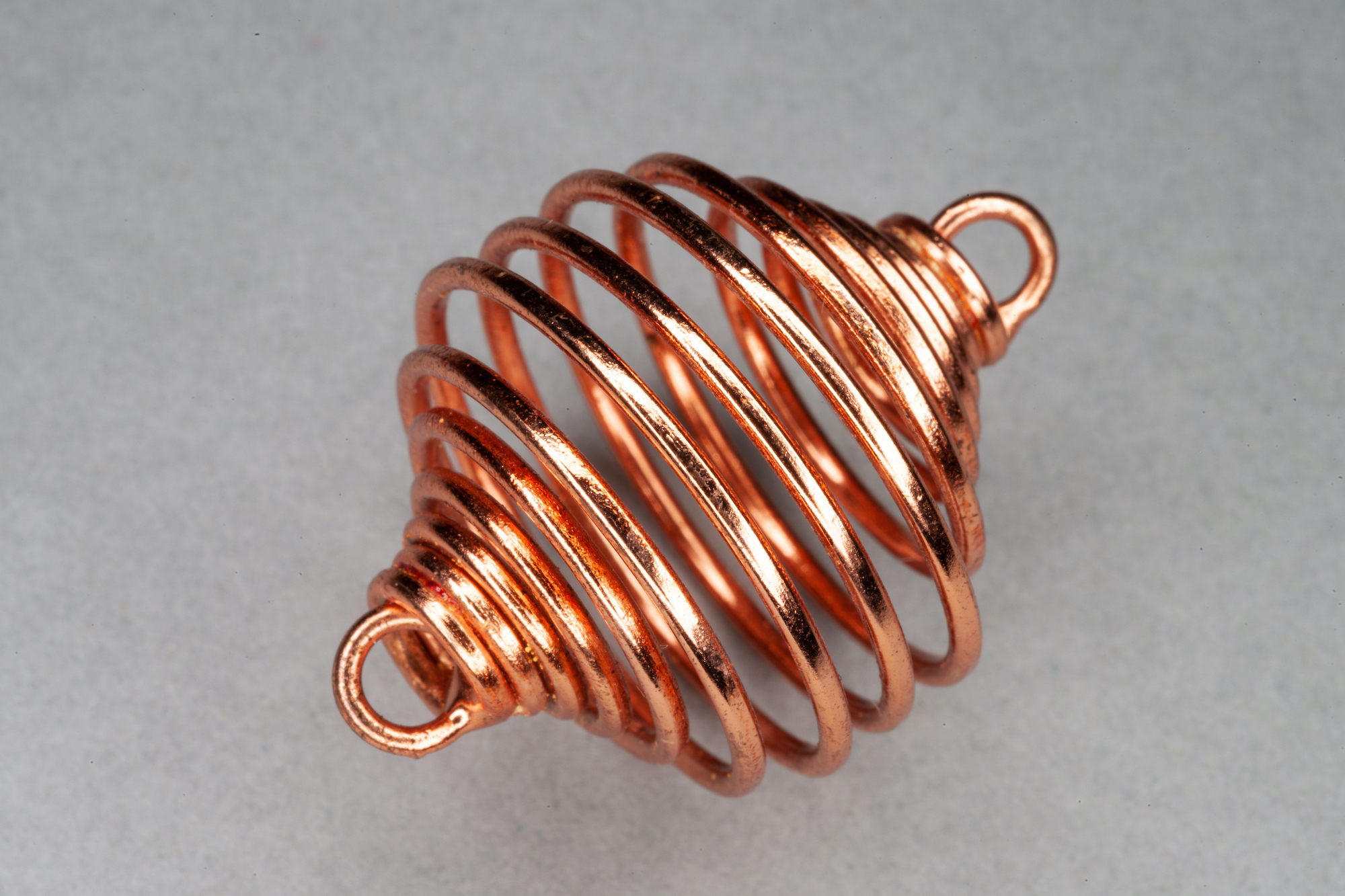 Copper Plated Spiral Metal Cage Bead, 2 End Loops 35x25mm