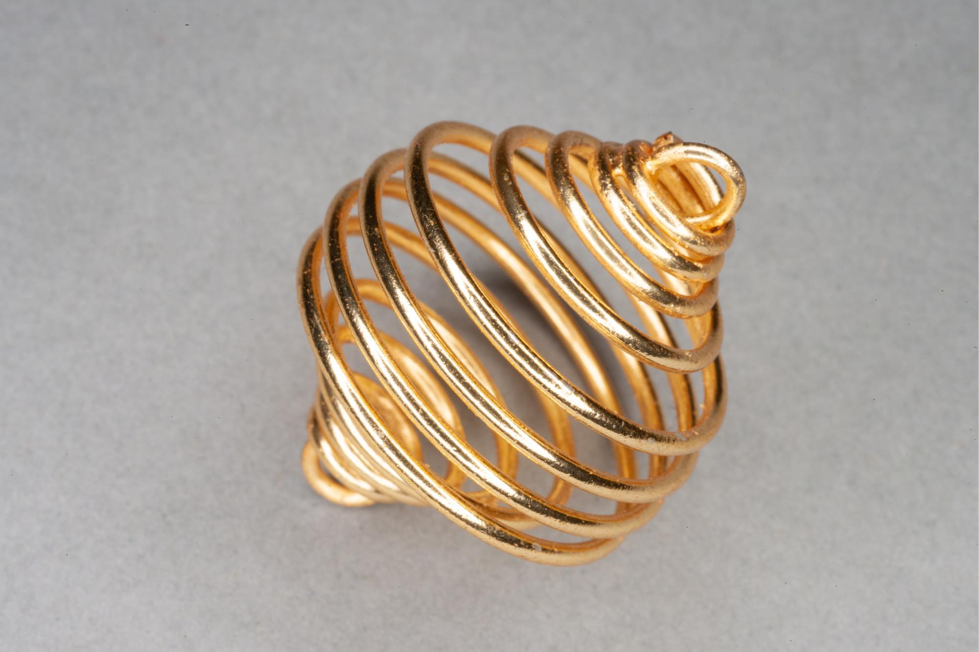 Gold Plated Spiral Metal Cage Bead, 2 End Loops 35x25mm