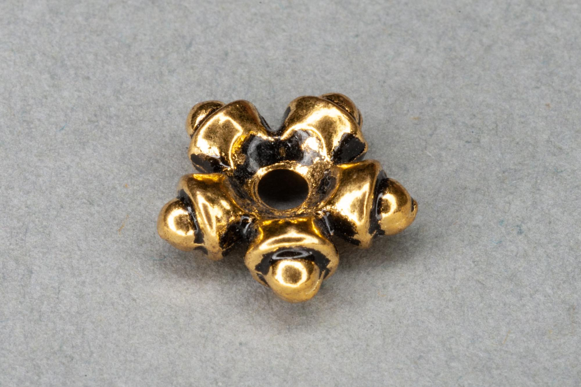 Antique Gold Plated Flat 'Star' Spacer Bead 10x3mm, 1.5mm hole