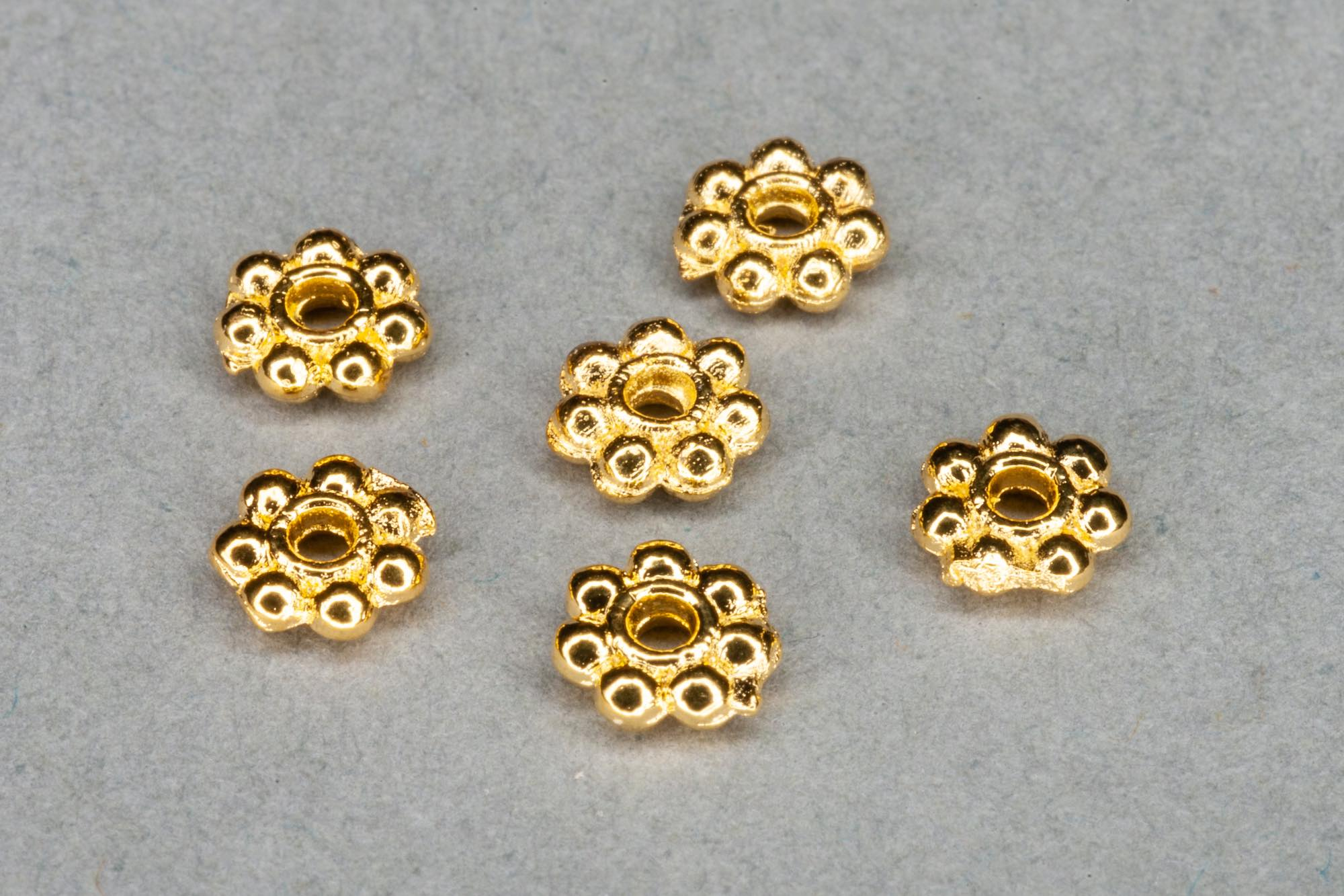 Bright Gold Plated Tiny Flat Decorative Spacer Bead 3x2mm, 0.8mm hole