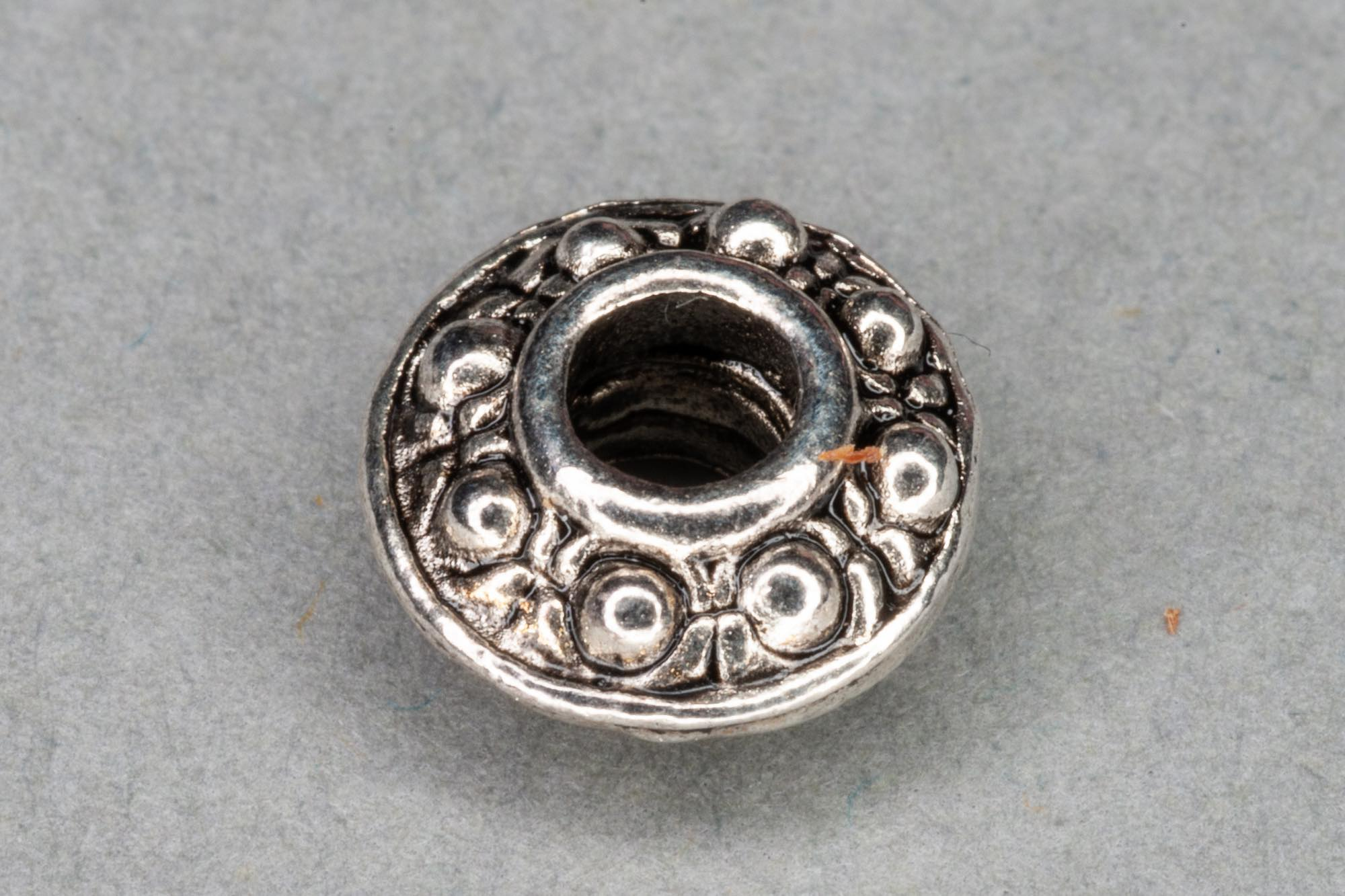 Antique Silver Plated Flat Bicone Spacer Bead 9x4mm, 1mm hole
