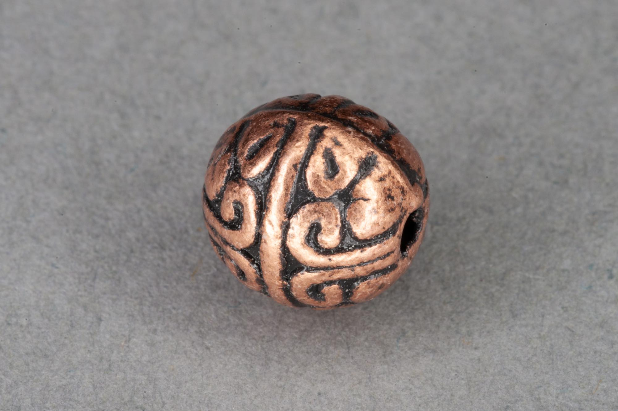 Antique Copper Colour Round Bead 8mm, 1mm hole