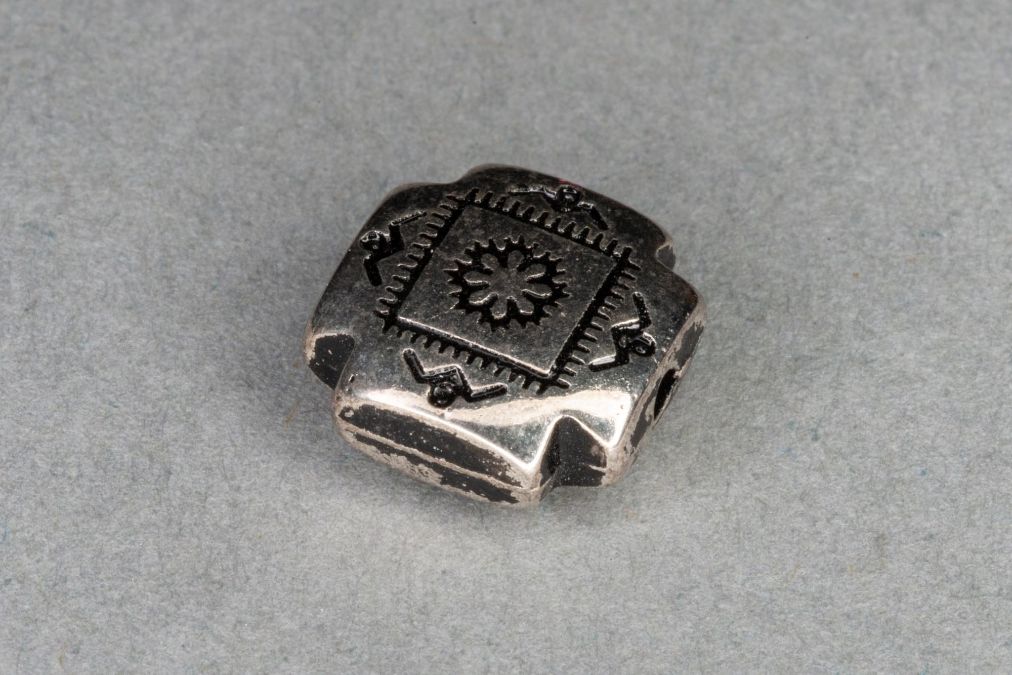 Silver Plated Flat Square Bead, Aztec Pattern 10x3mm, 0.7mm hole
