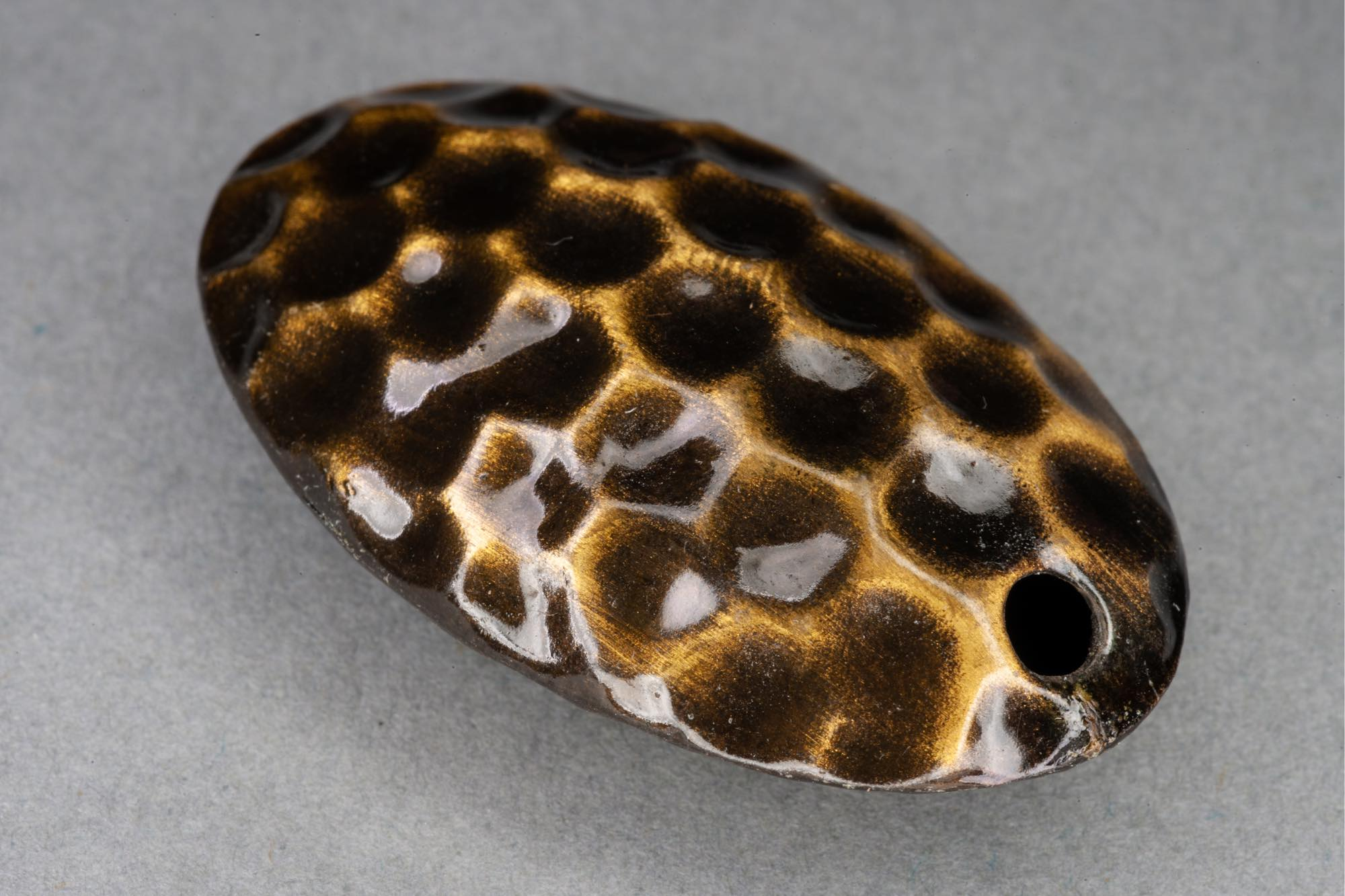Dark Gold Dimpled Hollow Metal Bead, Diagonal Hole 37x23x10mm, 2mm hole