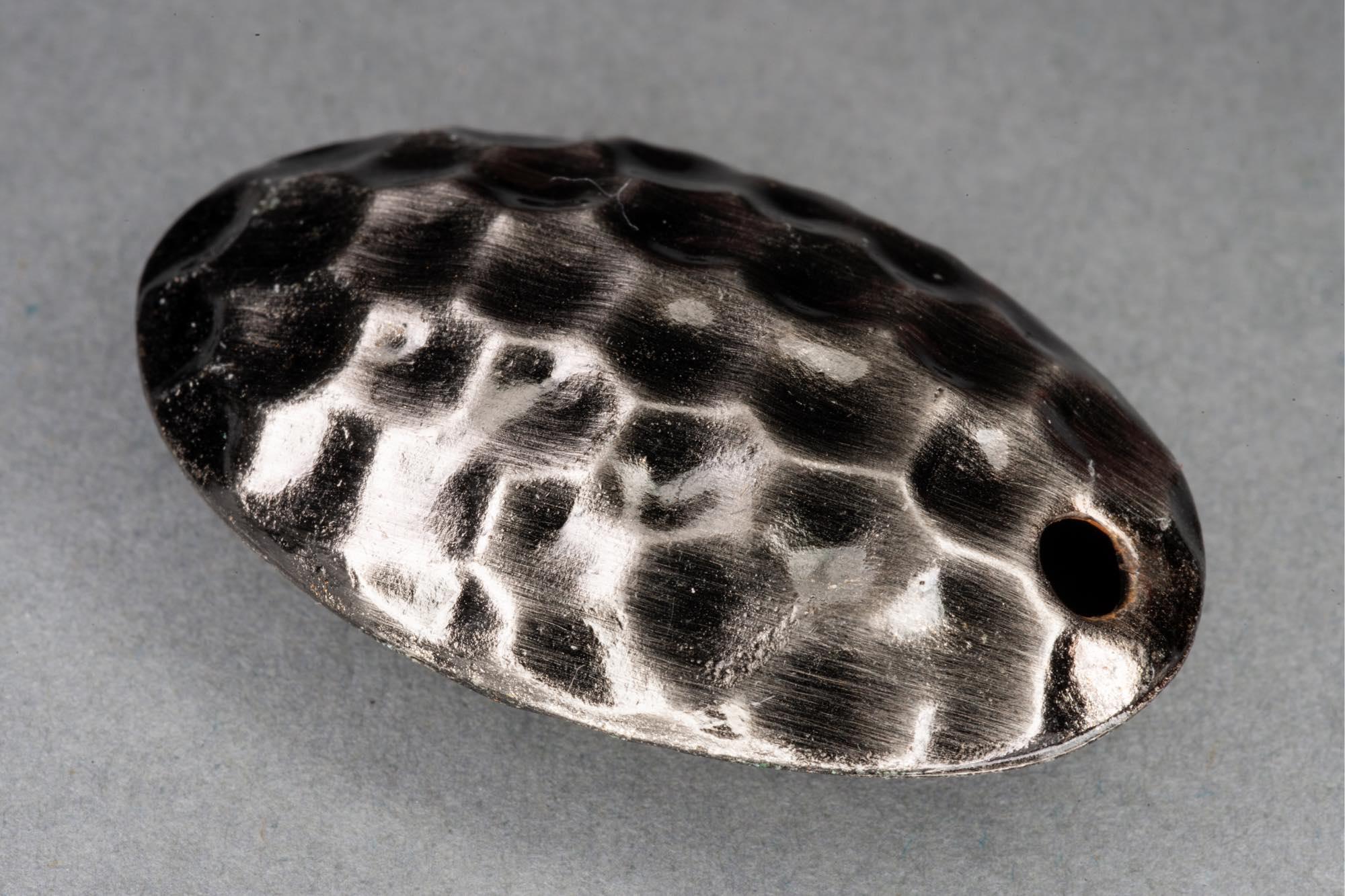 Dark Silver Dimpled Hollow Metal Bead, Diagonal Hole 37x23x10mm, 2mm hole