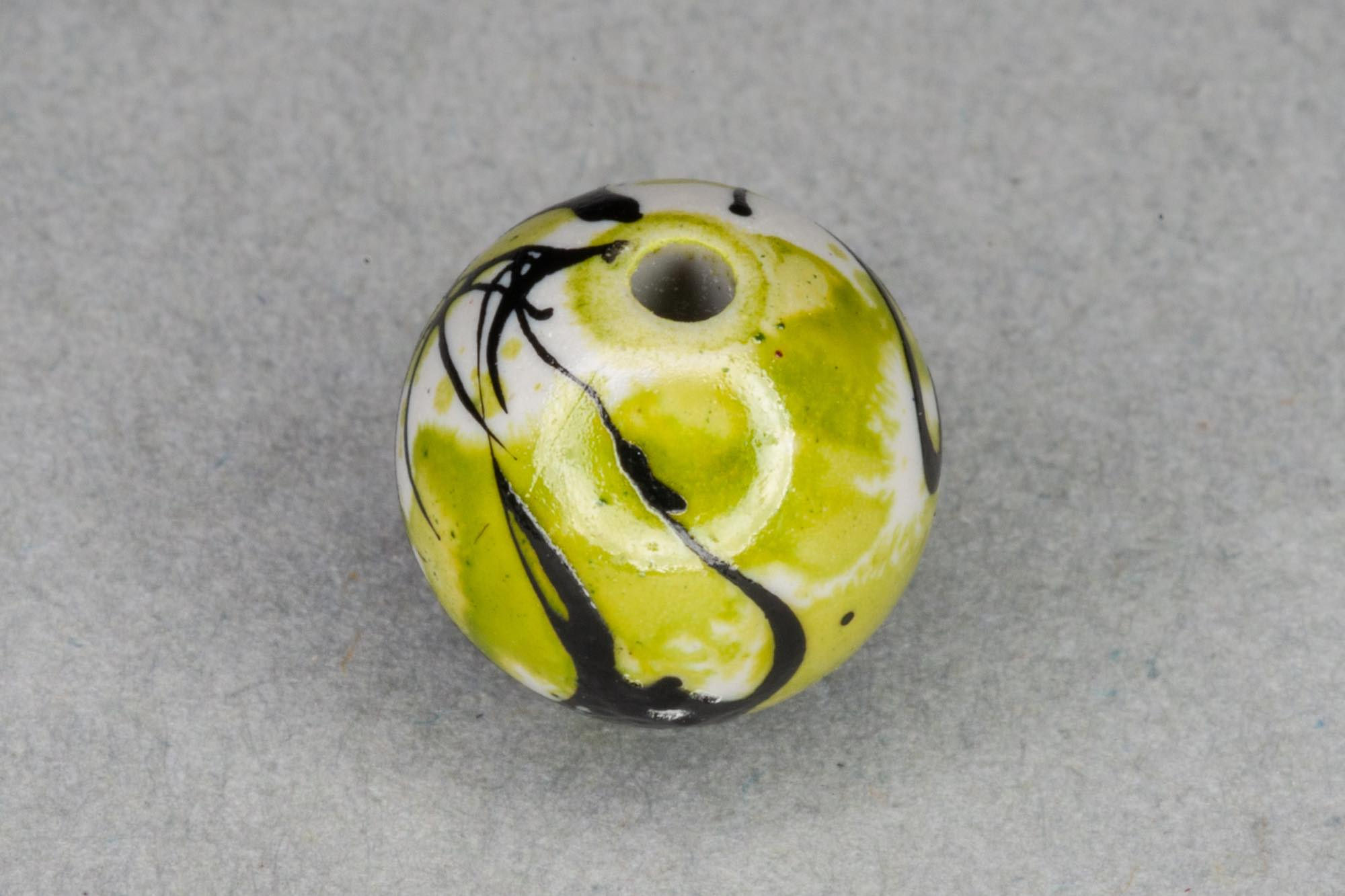 Round Acrylic 10mm Bead With Lime Paint Effect 1.2mm hole