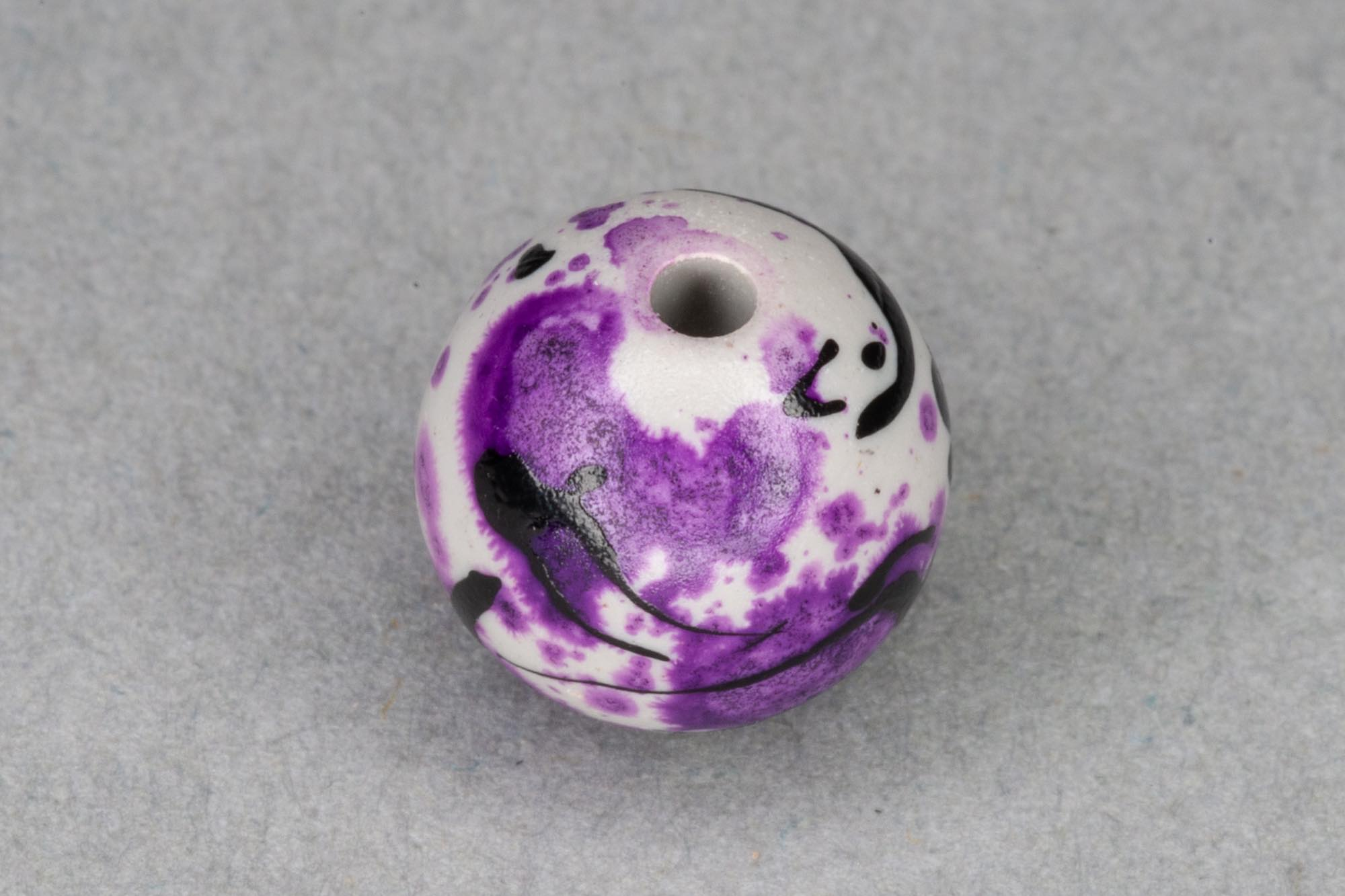 Round Acrylic 10mm Bead With Purple Paint Effect 1.2mm hole