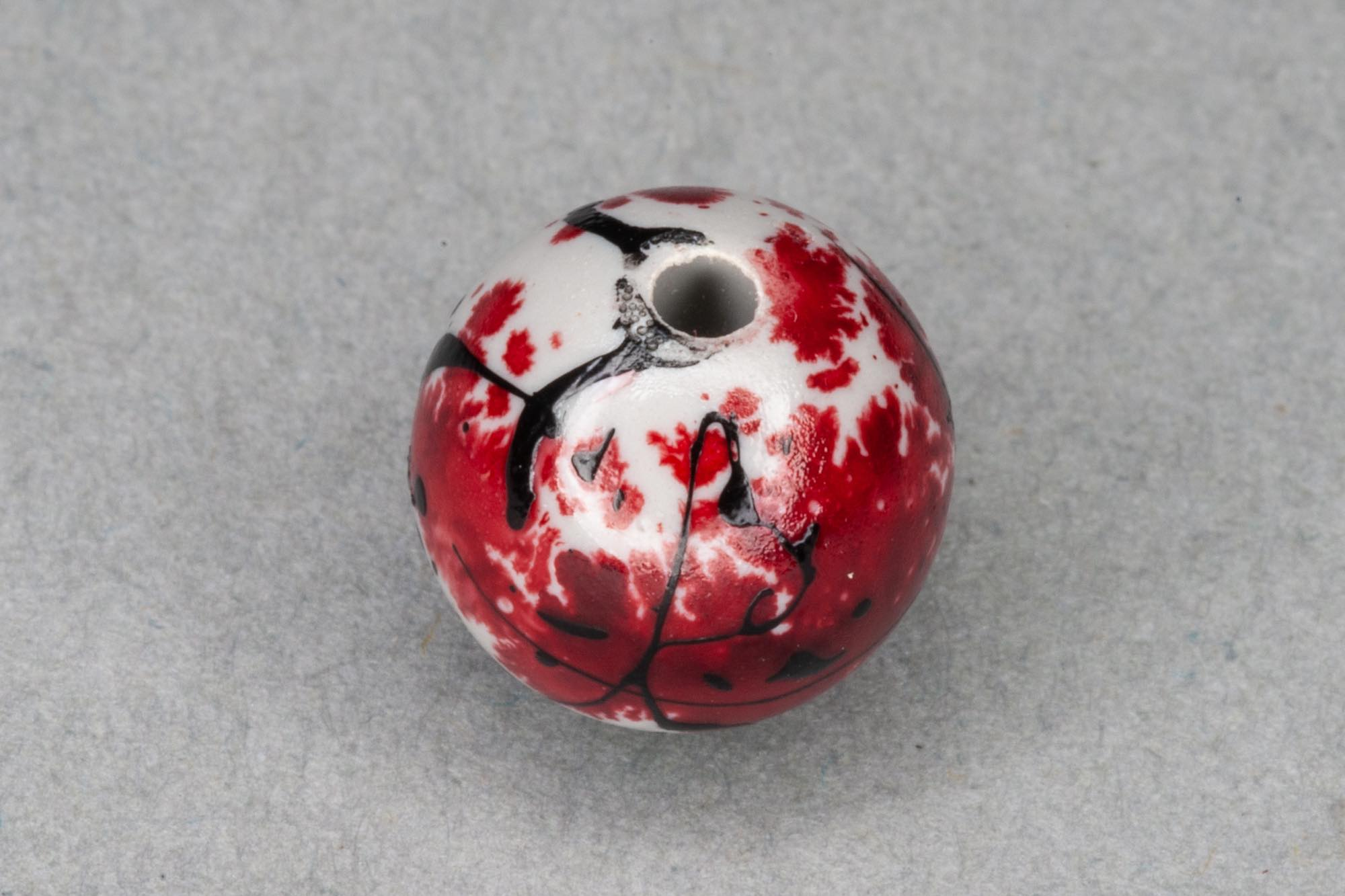 Round Acrylic 10mm Bead With Red Paint Effect 1.2mm hole