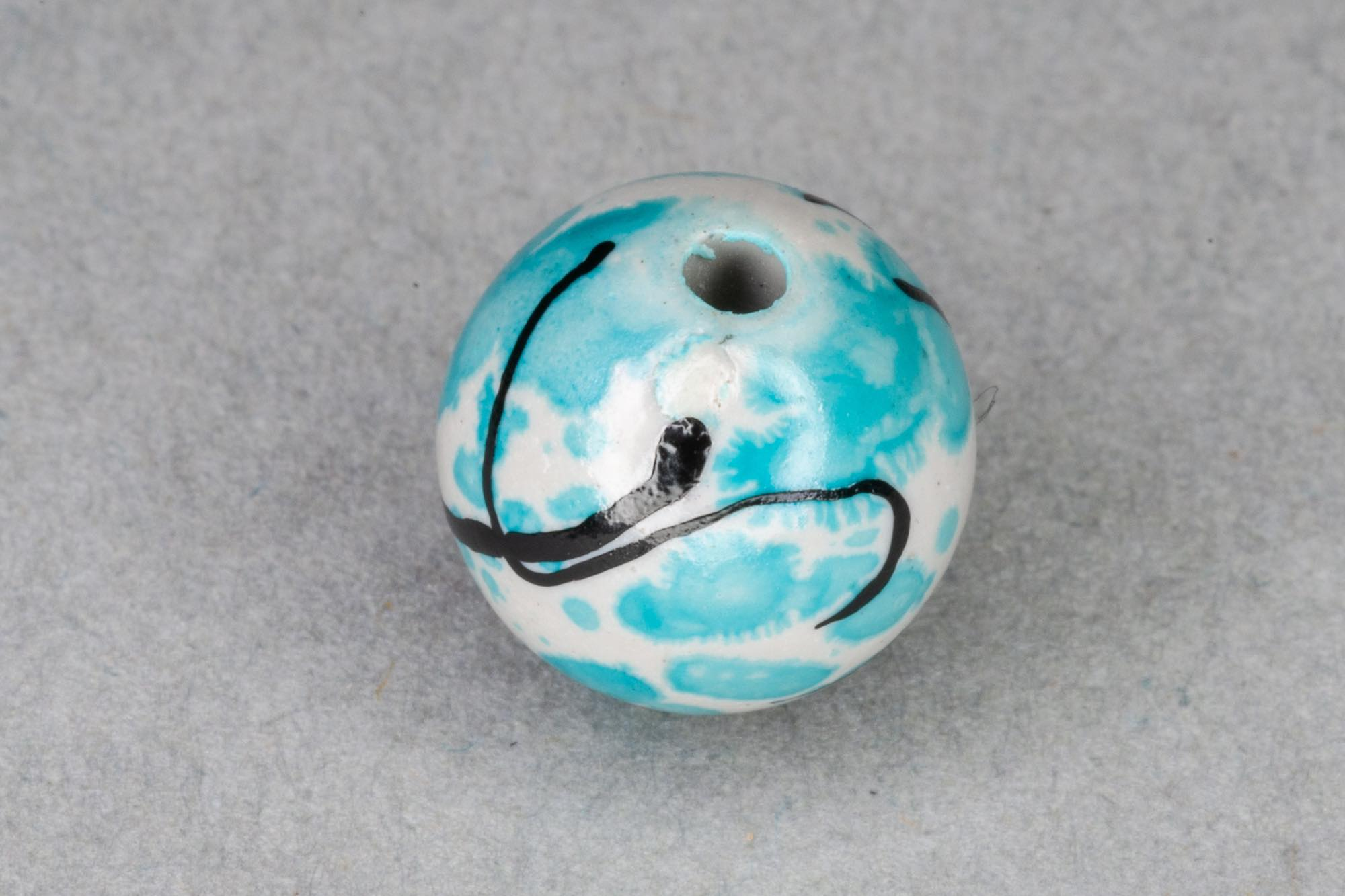 Round Acrylic 10mm Bead, Turquoise Paint Effect 1.2mm hole