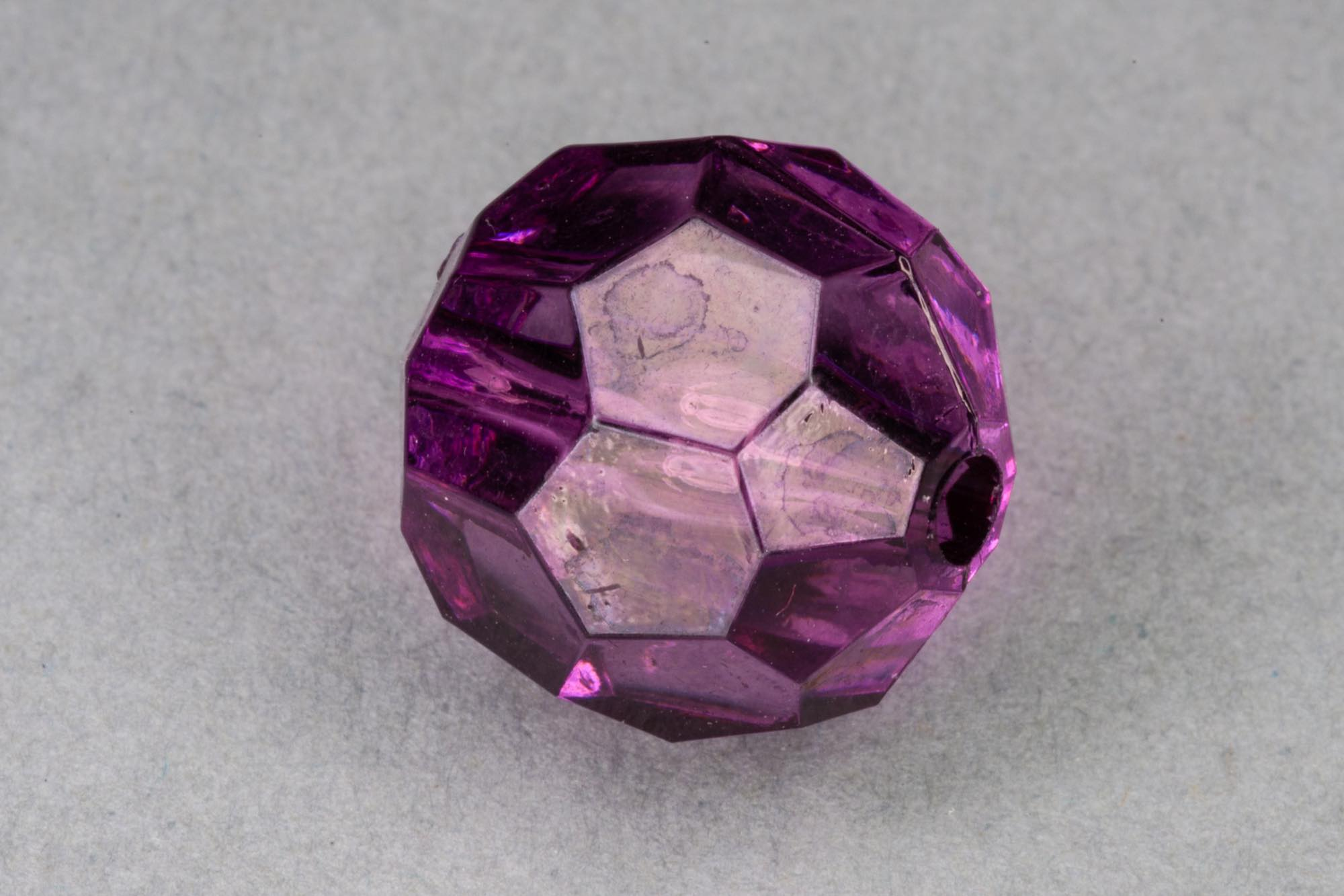Aubergine Faceted Transparent Acrylic Bead, 1.5mm hole