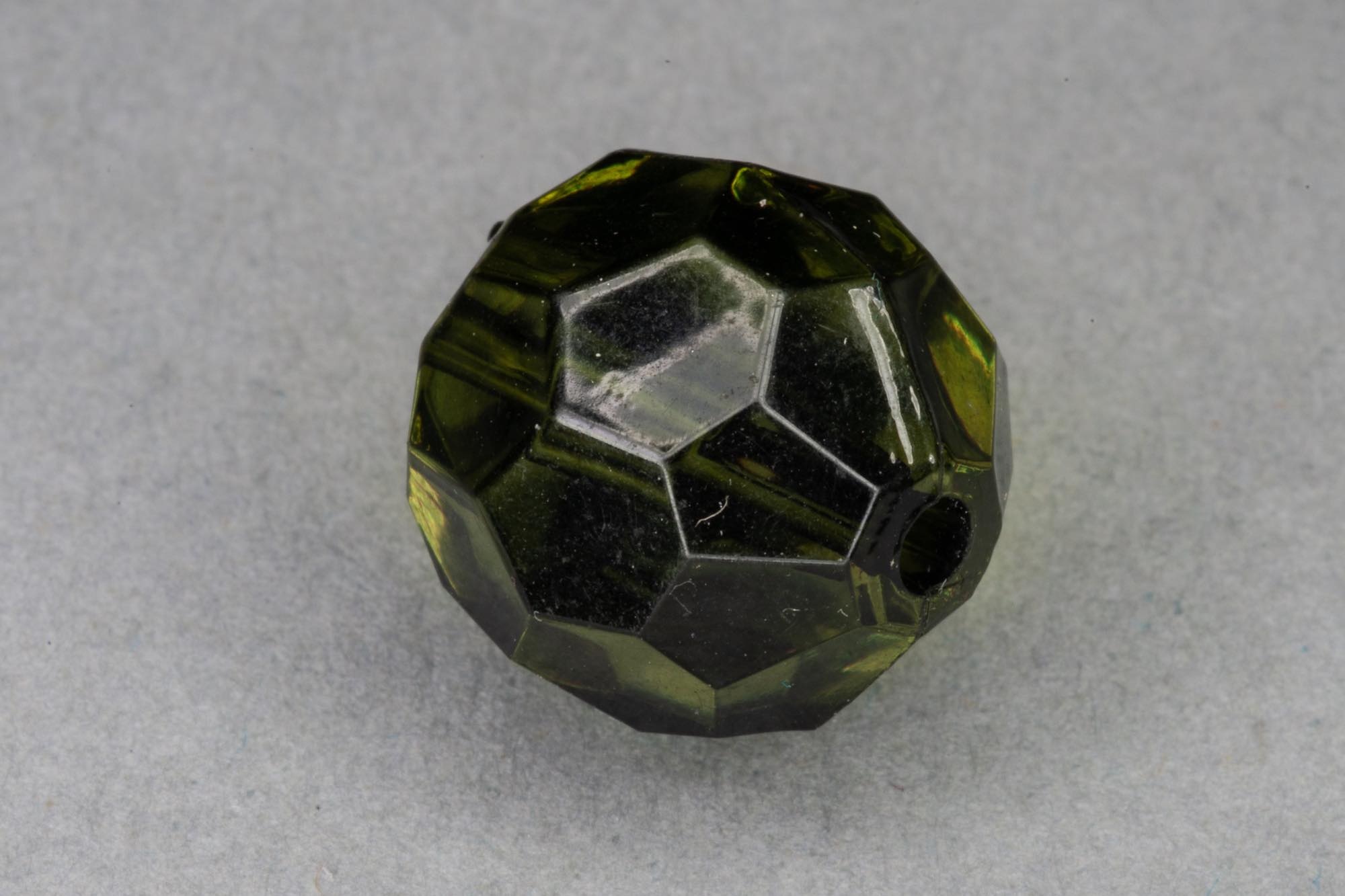 Olive Faceted Transparent Acrylic Bead, 1.5mm hole