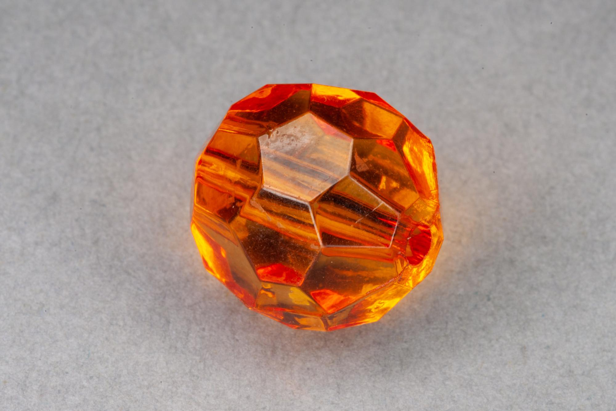 Orange Faceted Transparent Acrylic Bead, 1.5mm hole