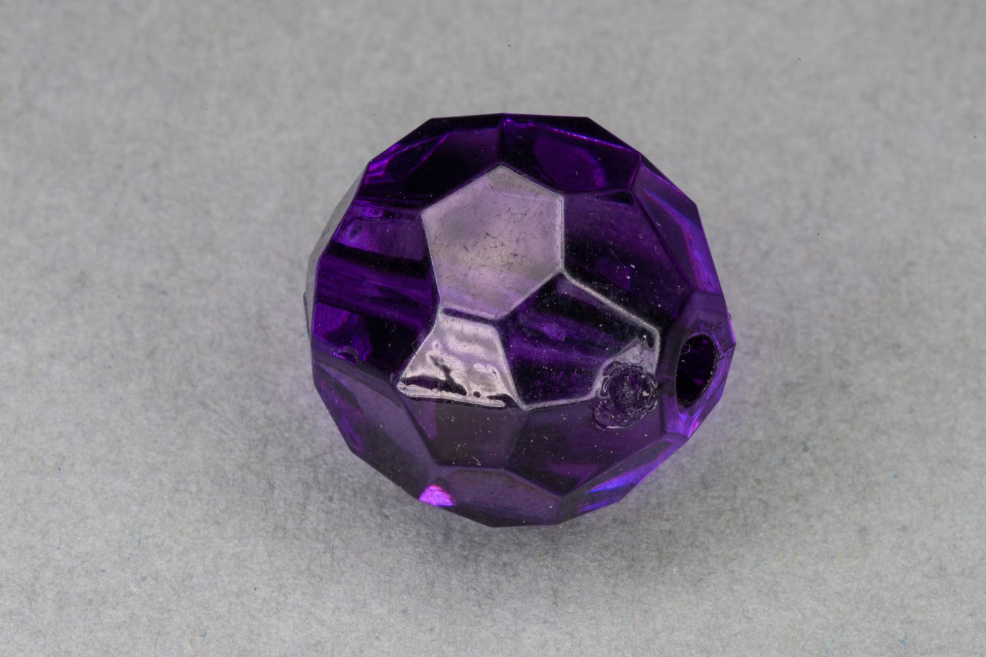 Purple Faceted Transparent Acrylic Bead, 1.5mm hole