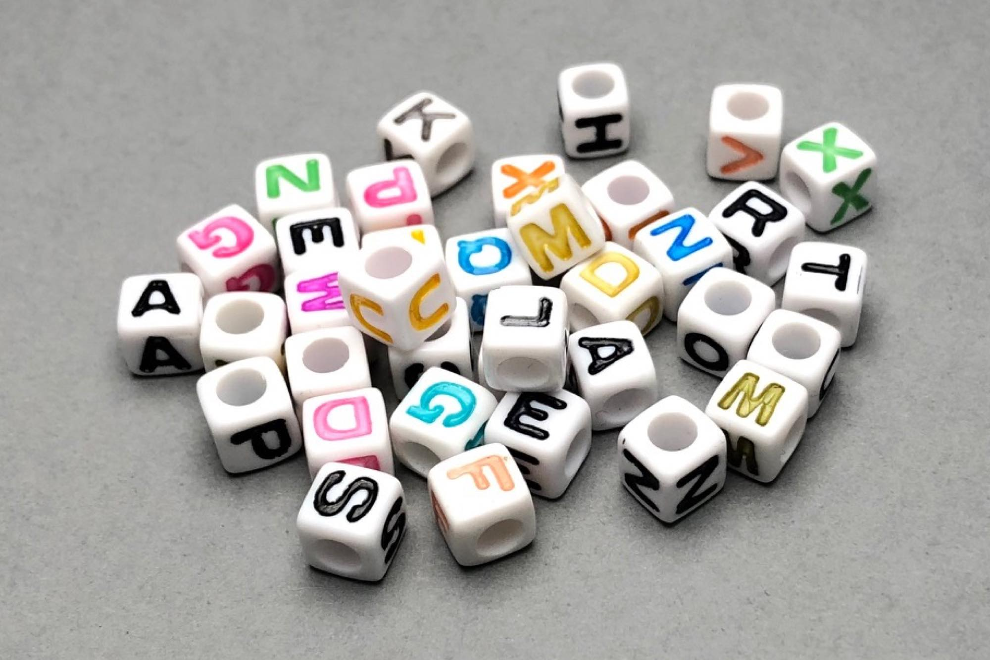 White Acrylic Cube Alphabet Beads 6.5, 3.5mm Hole, 1 Piece