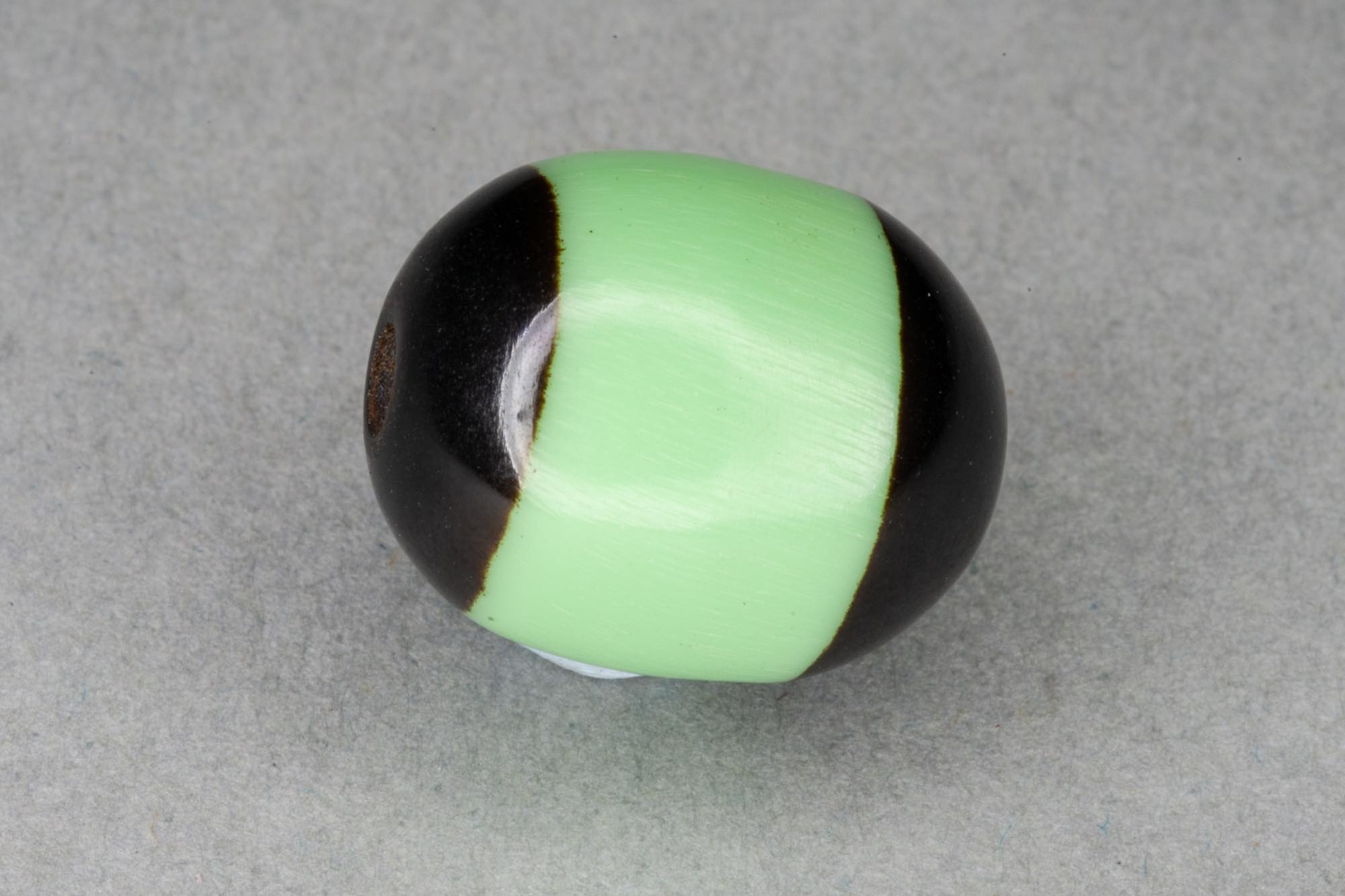 Green Oval Resin Bead With Black Ends, 14x11mm, 1.5mm hole