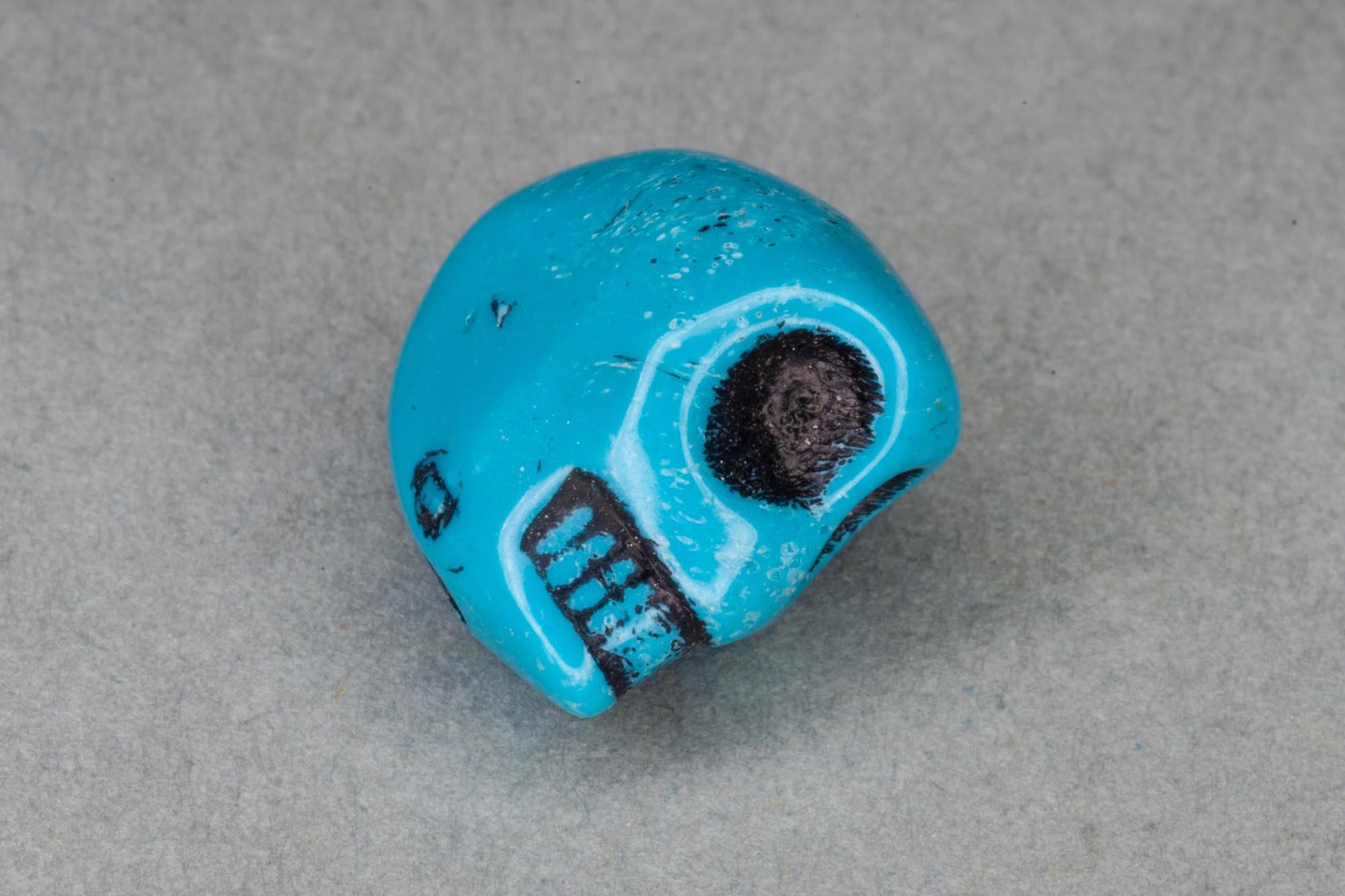 Turquoise Acrylic Skull Bead, 12x12x10mm, 1.2mm hole