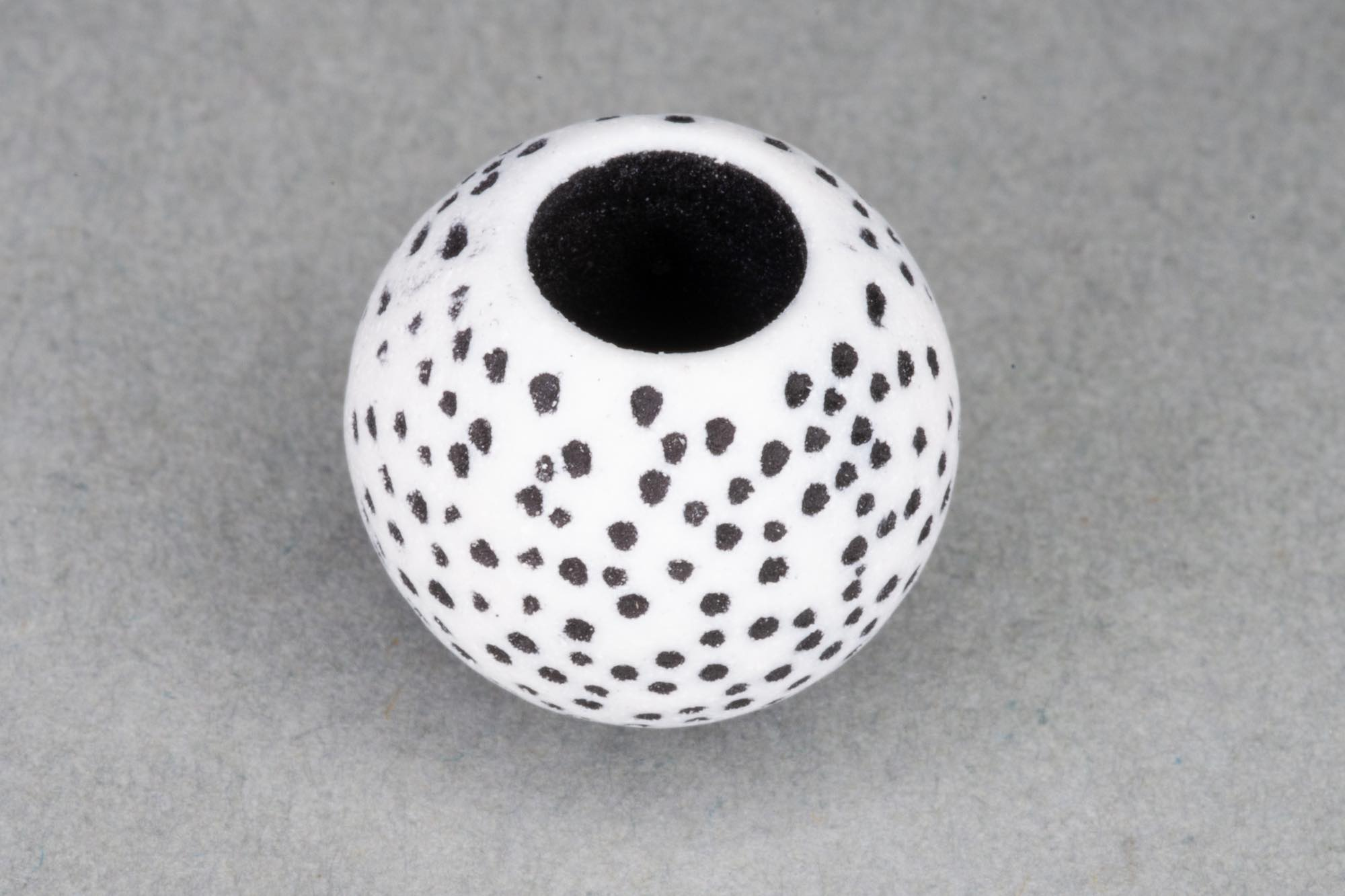 Acrylic Large Hole Bead With Black Speckle Effect, 14x12mm, 6mm hole