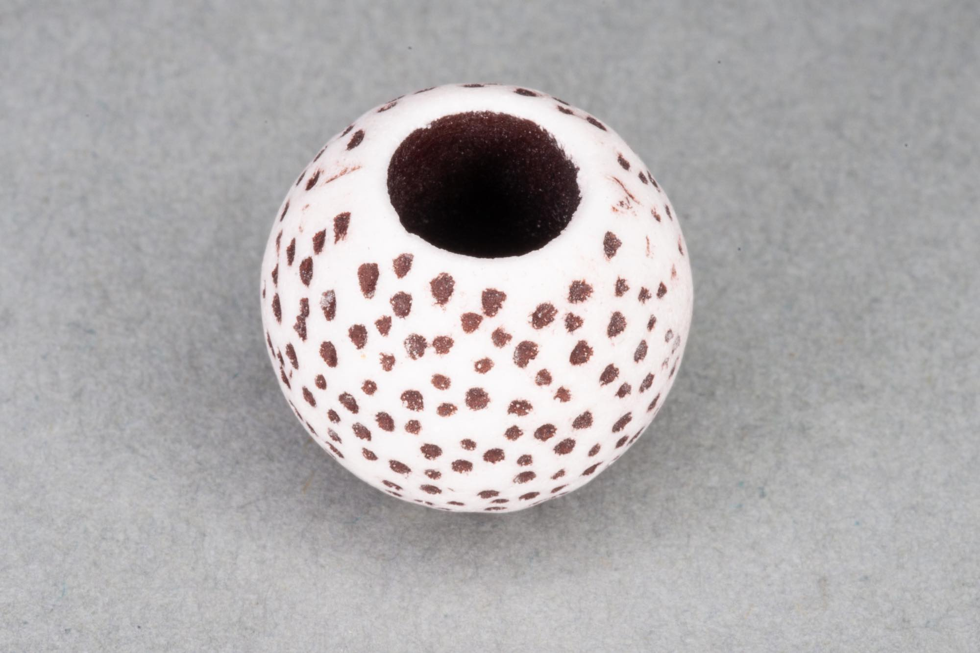 Acrylic Large Hole Bead With Brown Speckle Effect, 14x12mm, 6mm hole