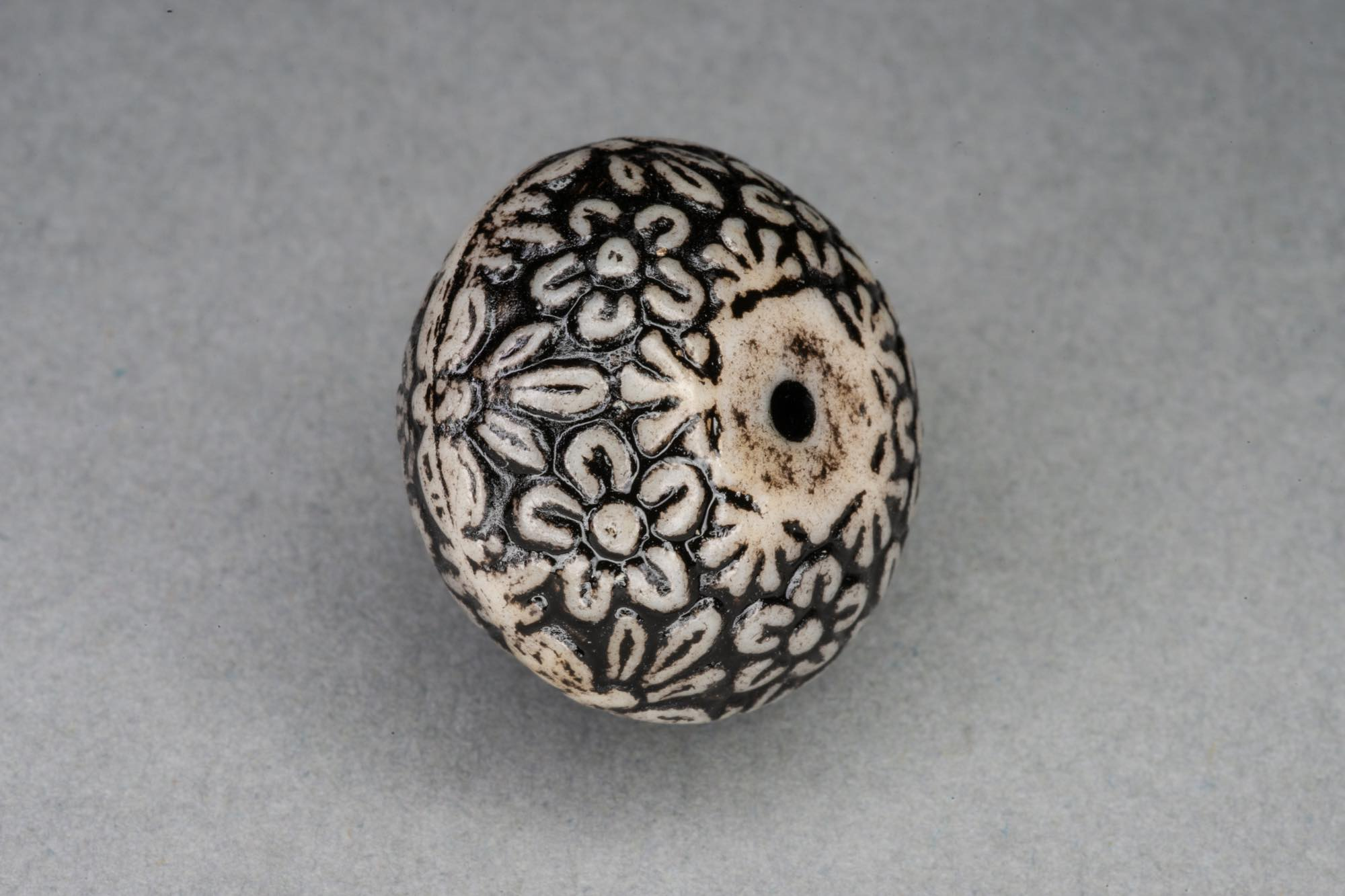 Soft Bicone Acrylic Bead, Vintage Floral Pattern 21x15mm, 1mm hole