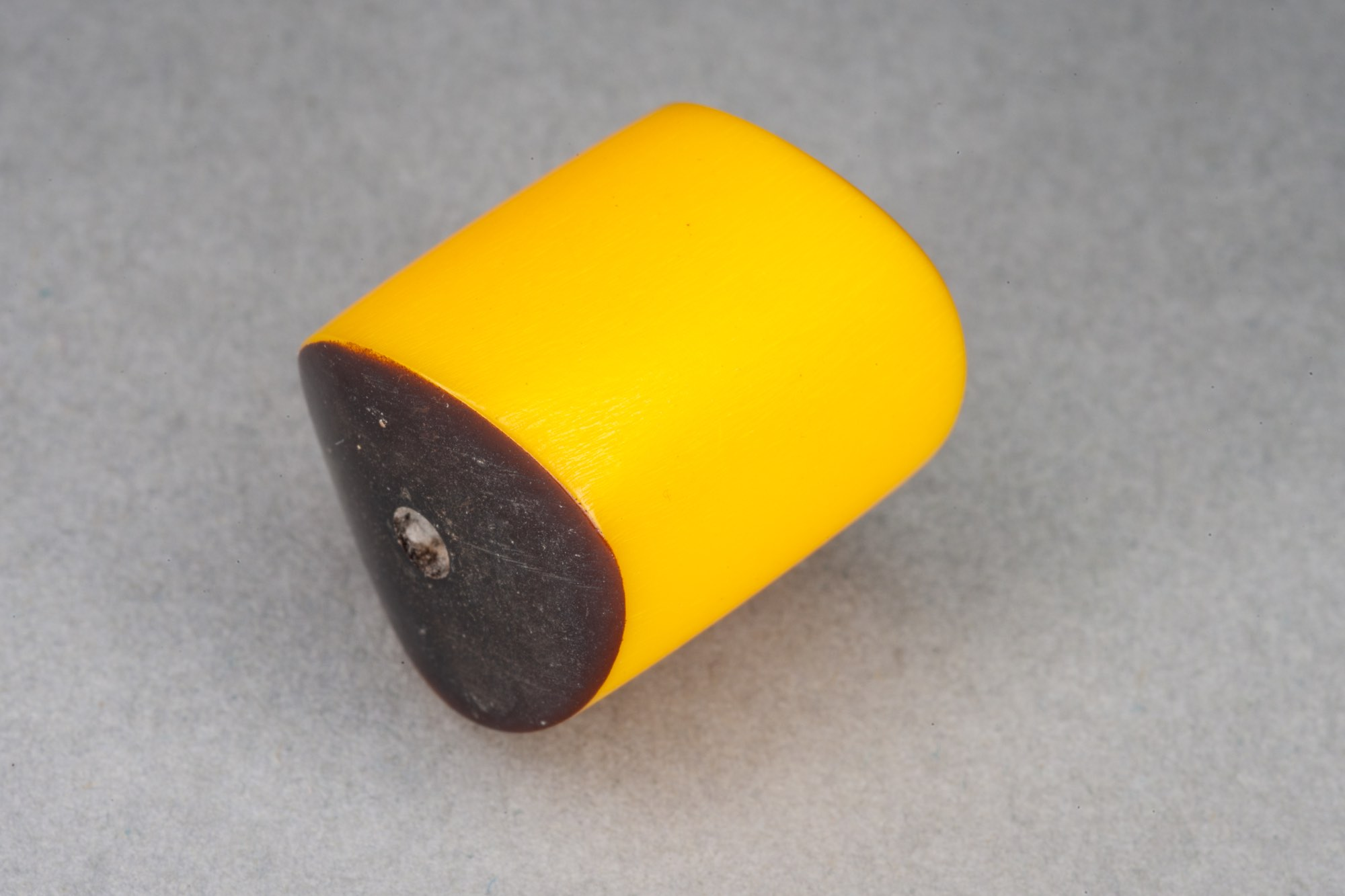 Yellow Barrel Resin Bead With Wavy Ends, 19x17mm, 2mm hole