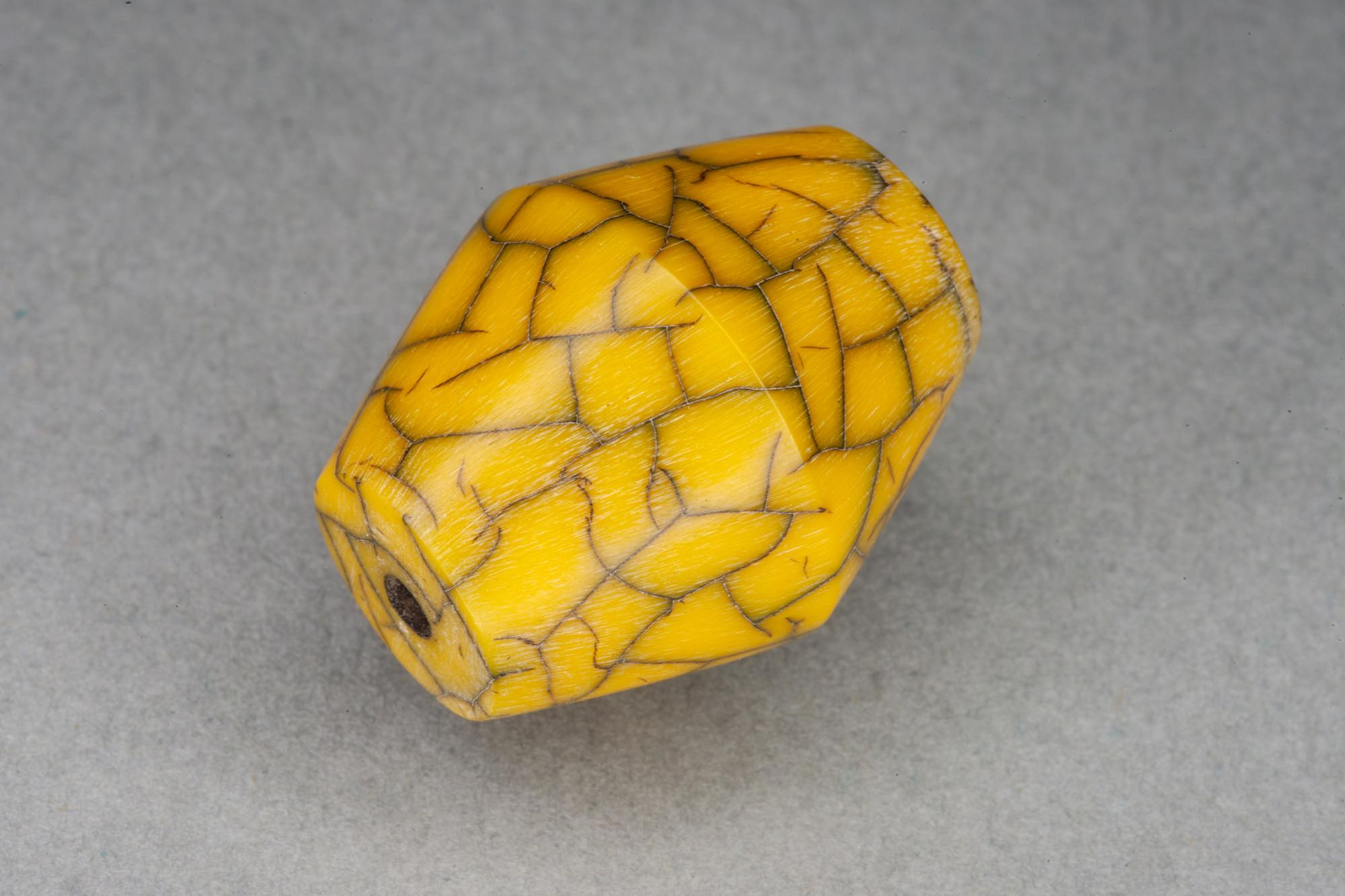 Yellow Bicone Resin Bead With Crackle Effect 17x22mm, 2mm hole