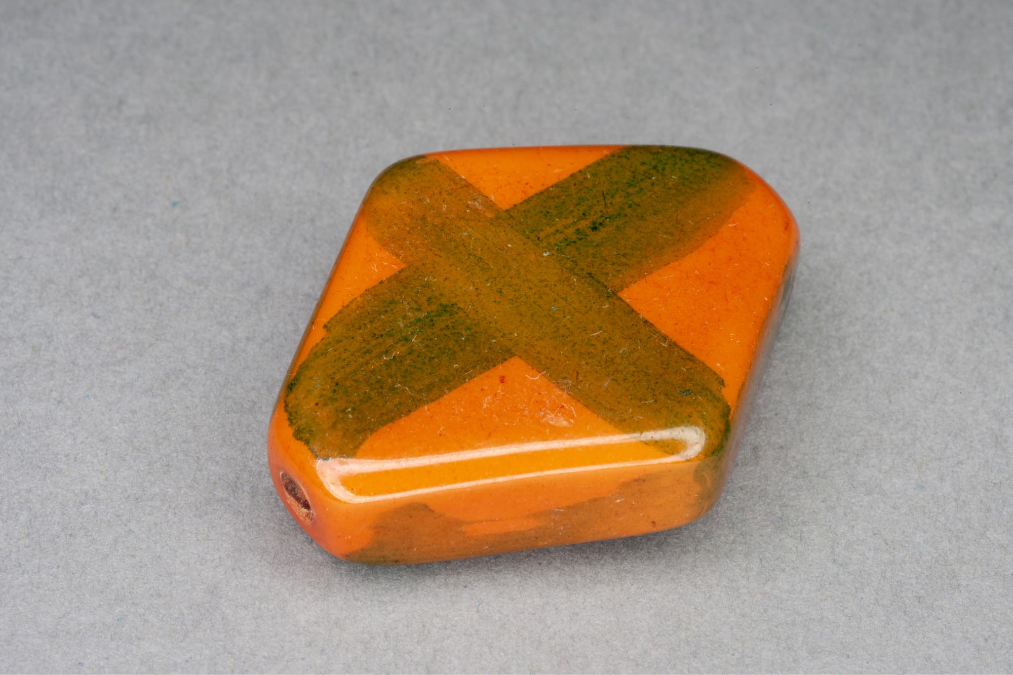 Terracotta Flat Diamond Resin Bead With Green Cross 32x26x7mm, 2mm hole