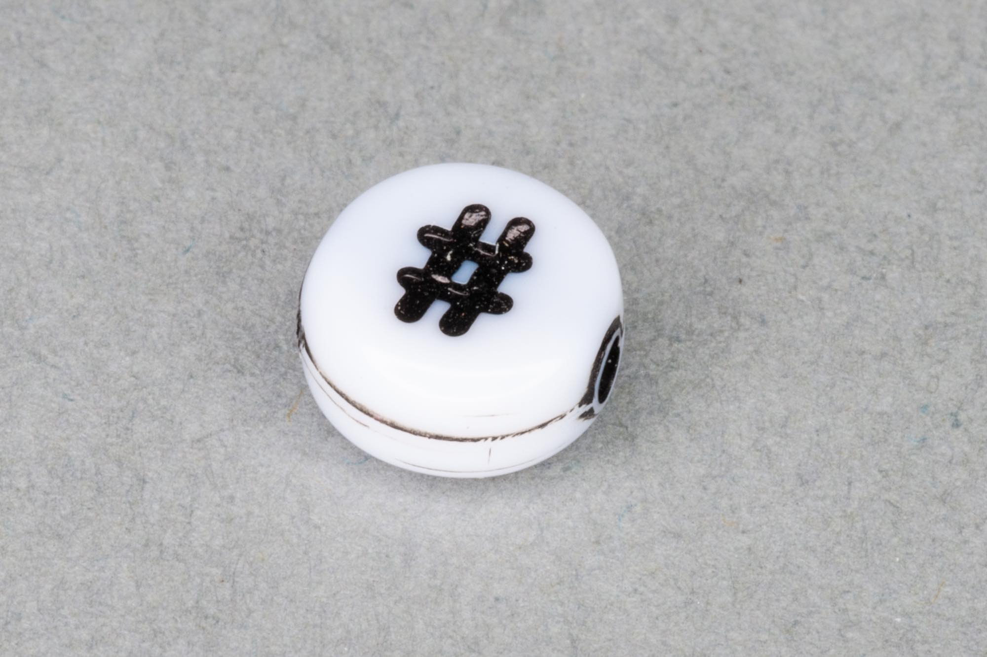 White Acrylic Bead With Hashtag 7x4mm, 0.9mm hole