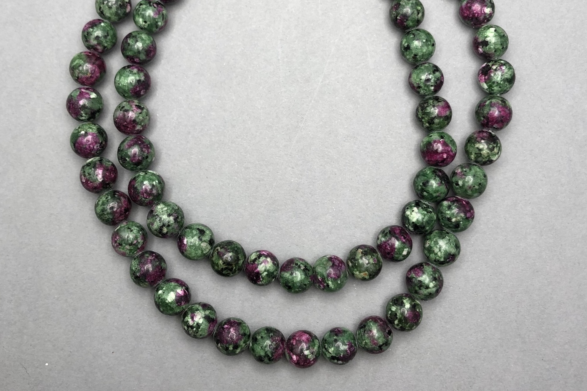 Ruby in Zoisite 38cm Strand, 8mm Round