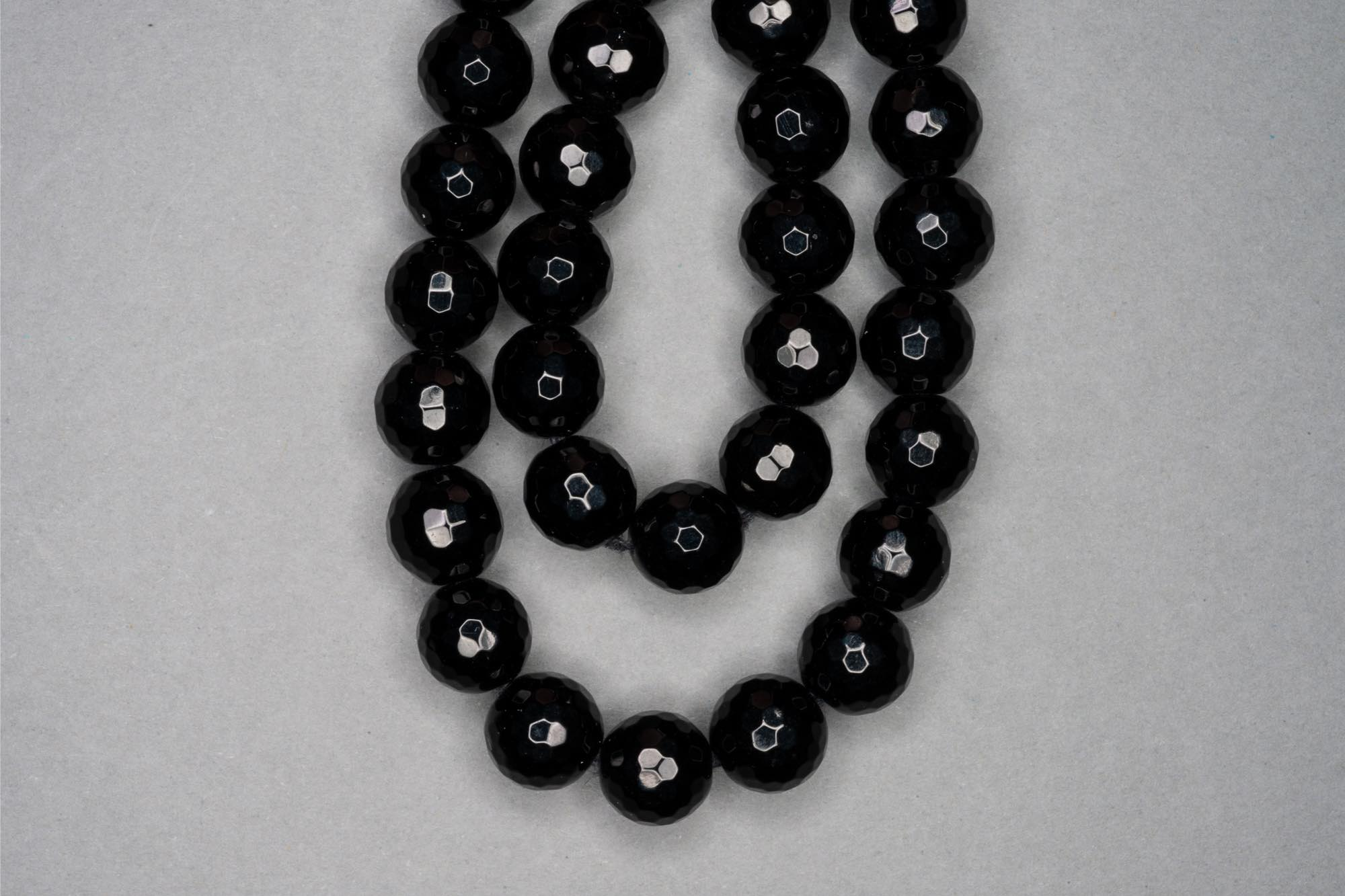 Black Faceted Agate 38cm Strand, 10mm Round