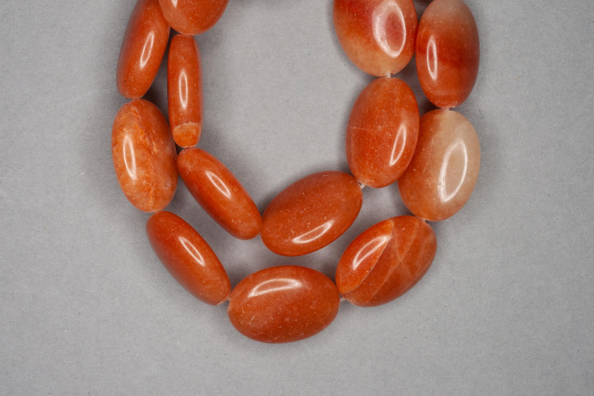 Dull Orange Aventurine 38cm Strand, 20x15x6mm Flat Oval