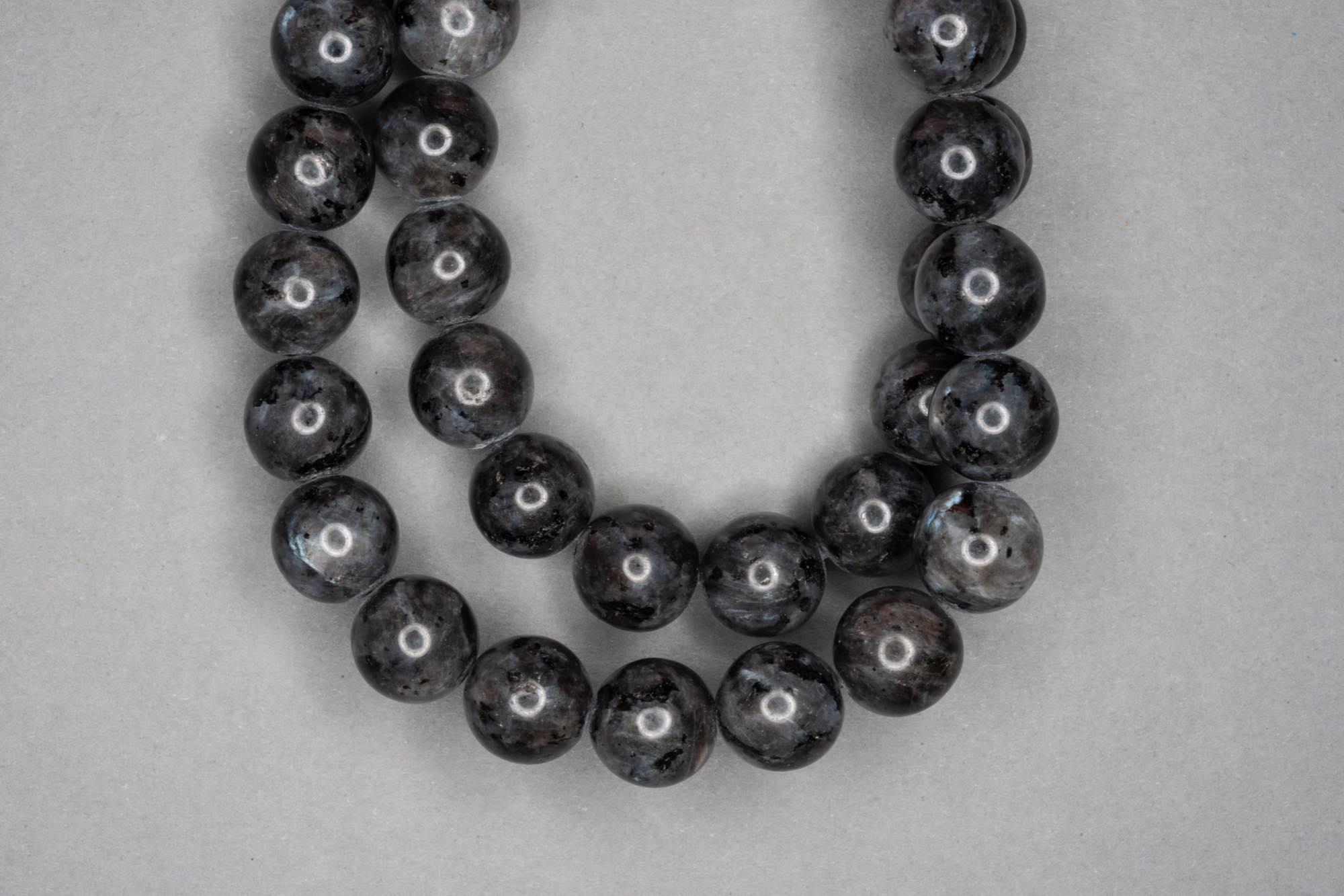 Grey Labradorite 38cm Strand, 10mm Round