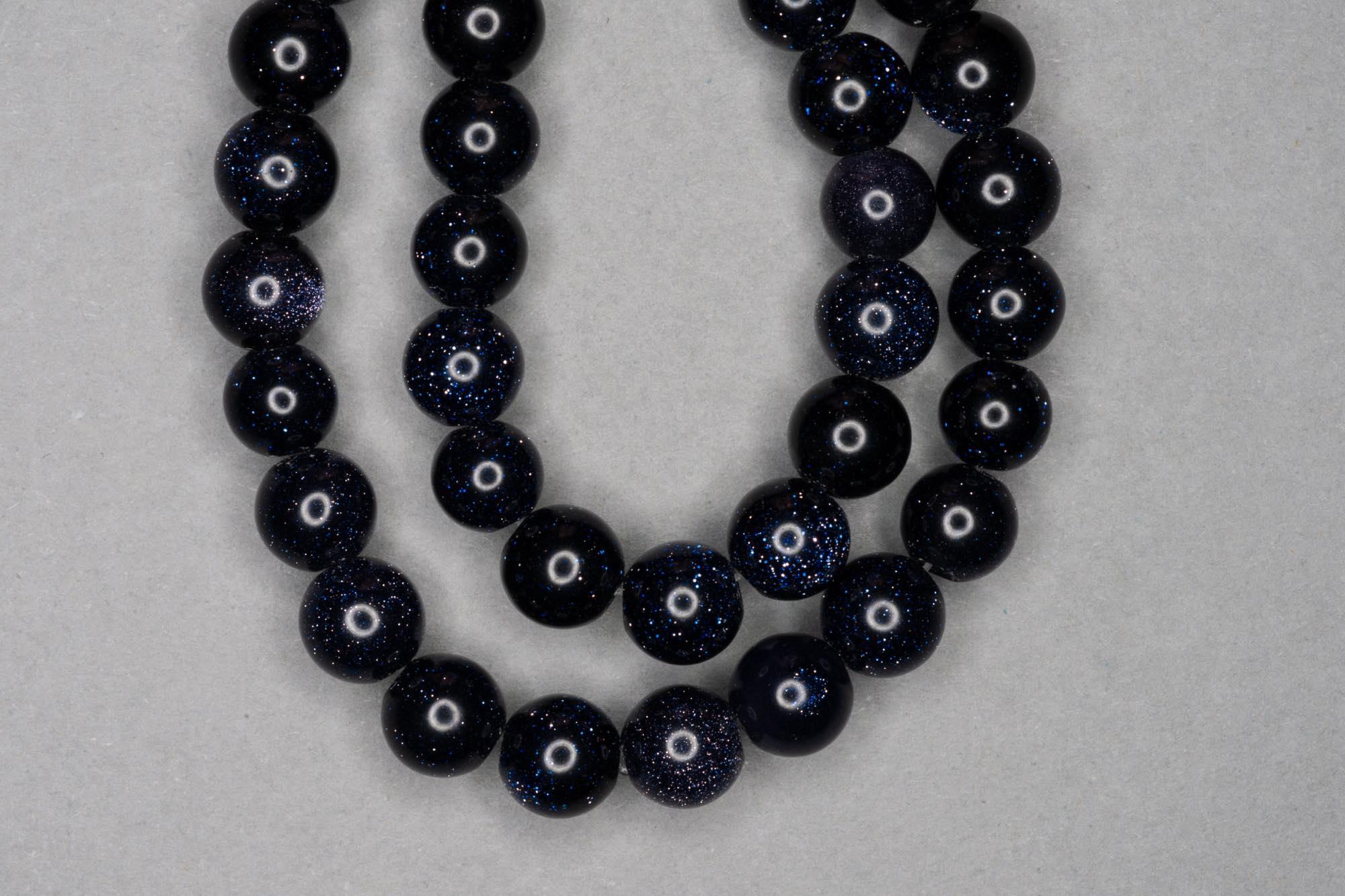 Blue Goldstone 38cm Strand, 8mm Round