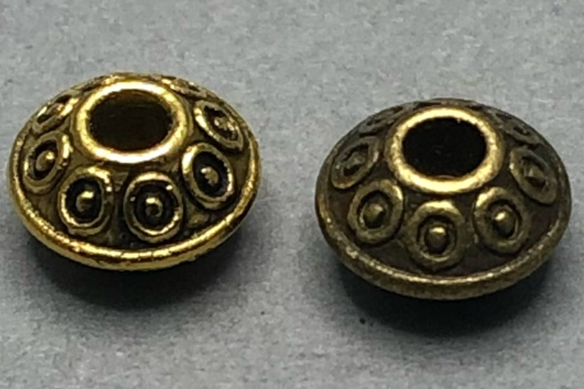 Antique Plated Flat Bicone Spacer Bead 6x4mm, 1mm hole