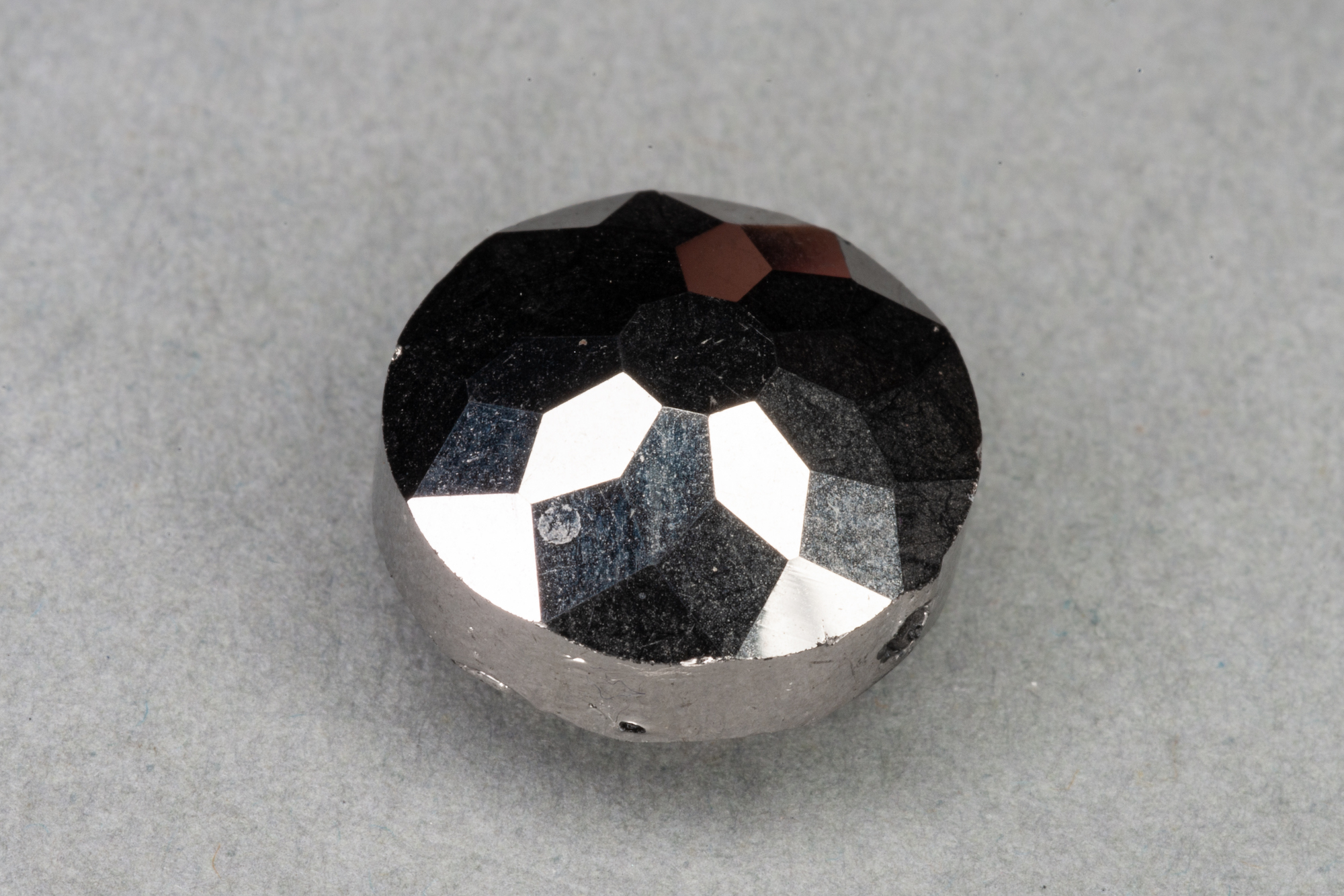 Metallic Silver Round Faceted Glass Bead, 1mm Hole